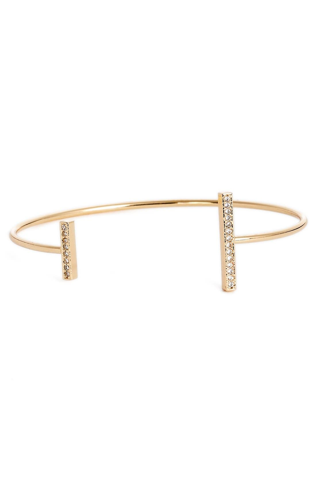 Stone Bar Cuff Bracelet,                         Main,                         color, Gold