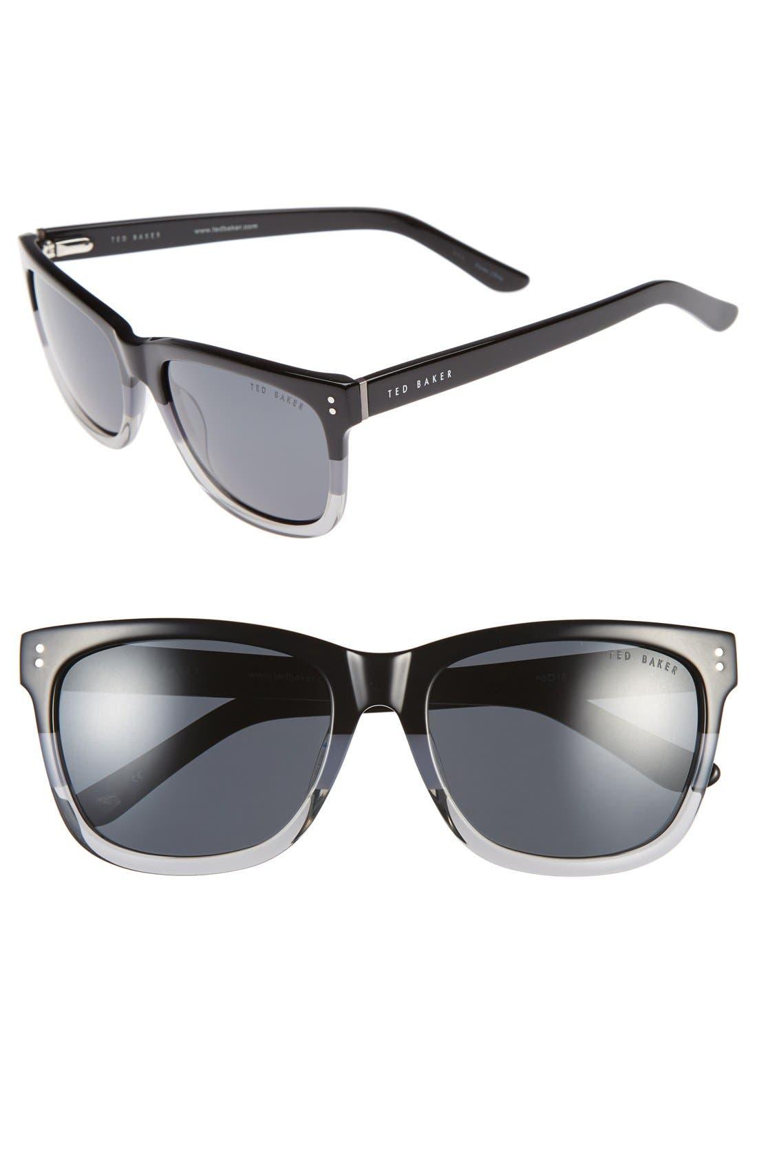 56mm Polarized Retro Sunglasses,                         Main,                         color, Black Fade