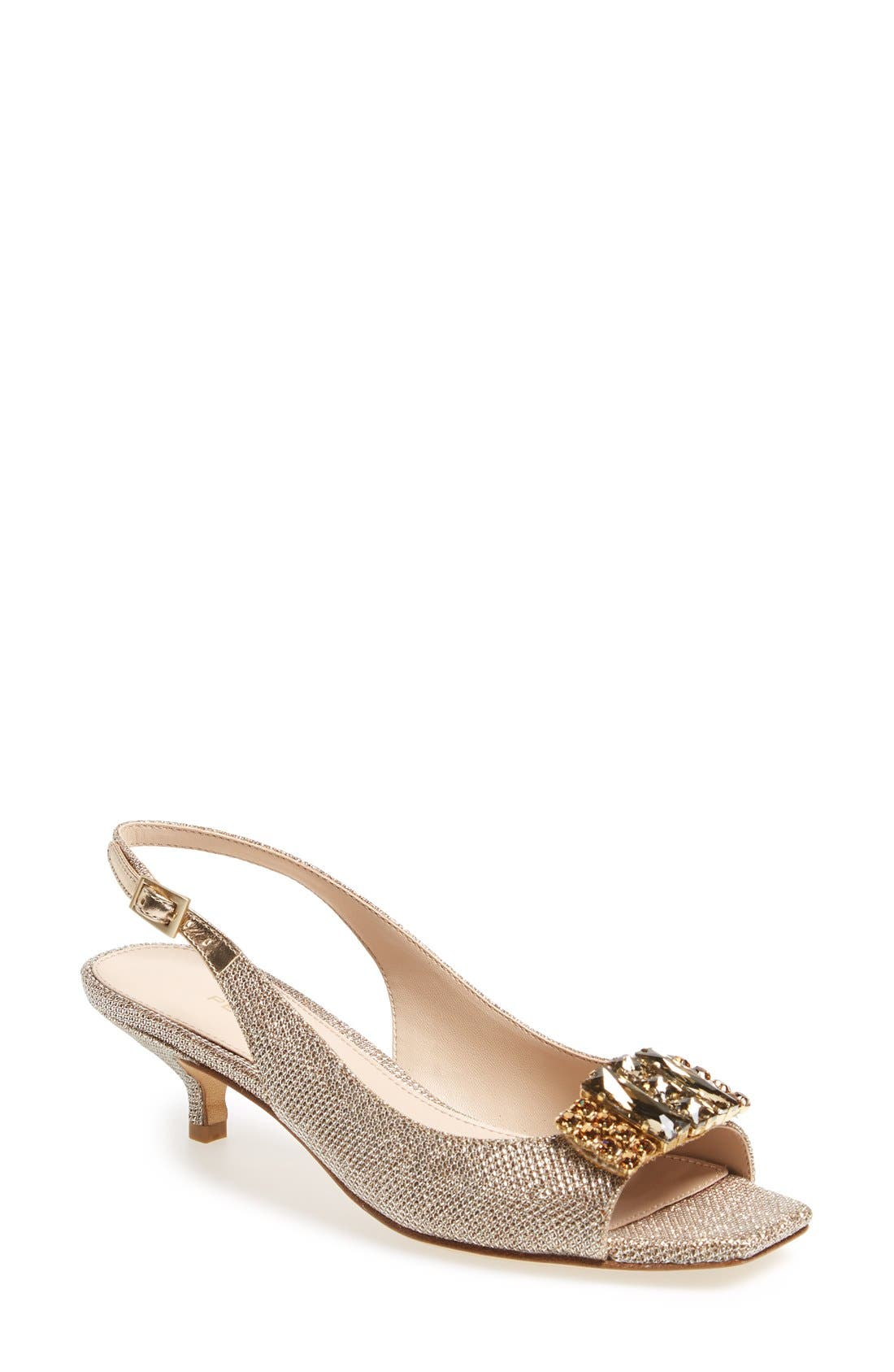 Alternate Image 1 Selected - Pelle Moda 'Fresh' Jeweled Metallic Leather Slingback Sandal (Women)