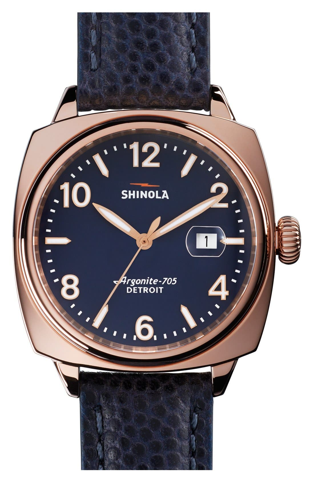 Alternate Image 1 Selected - Shinola 'The Brakeman' Leather Strap Watch, 40mm