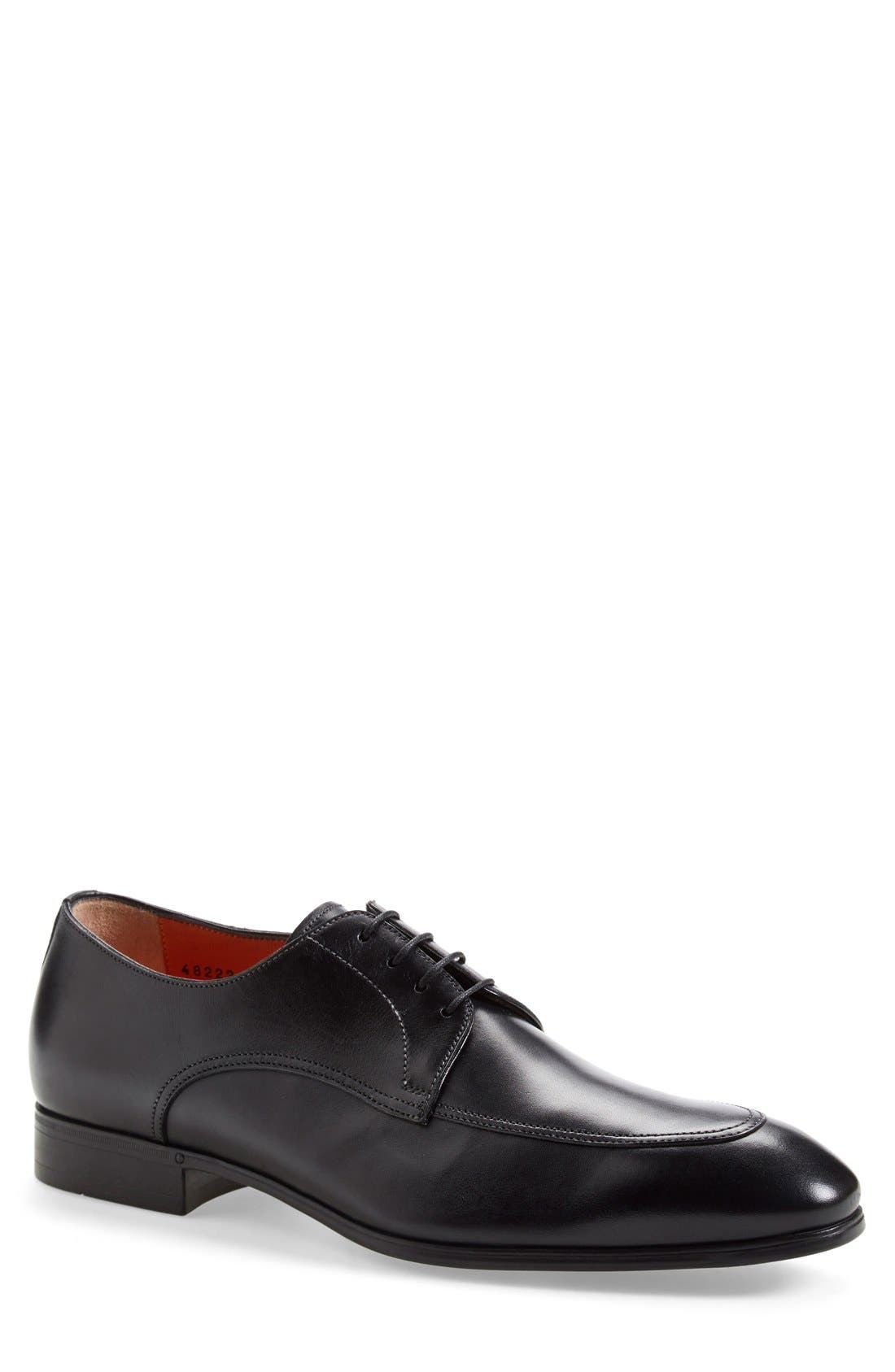 'Atwood' Apron Toe Derby,                             Main thumbnail 1, color,                             Black Leather