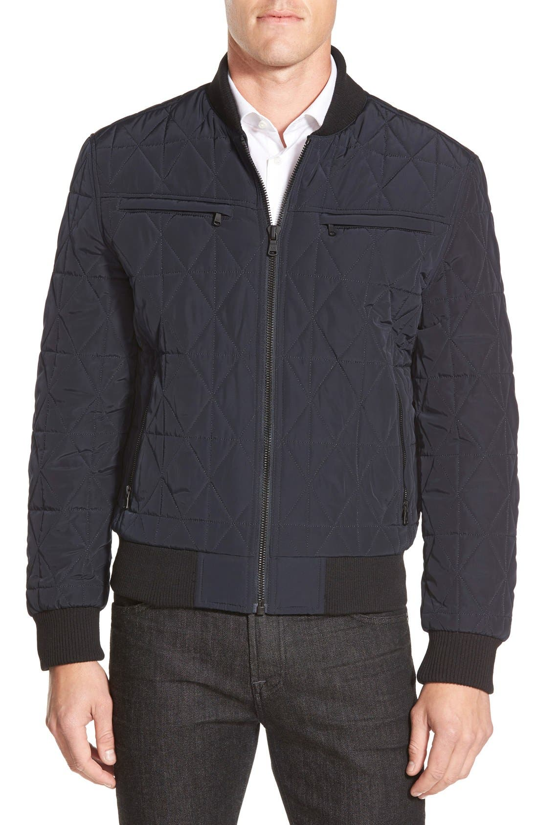 Diamond Quilted Zip Front Jacket,                         Main,                         color, Midnight Blue
