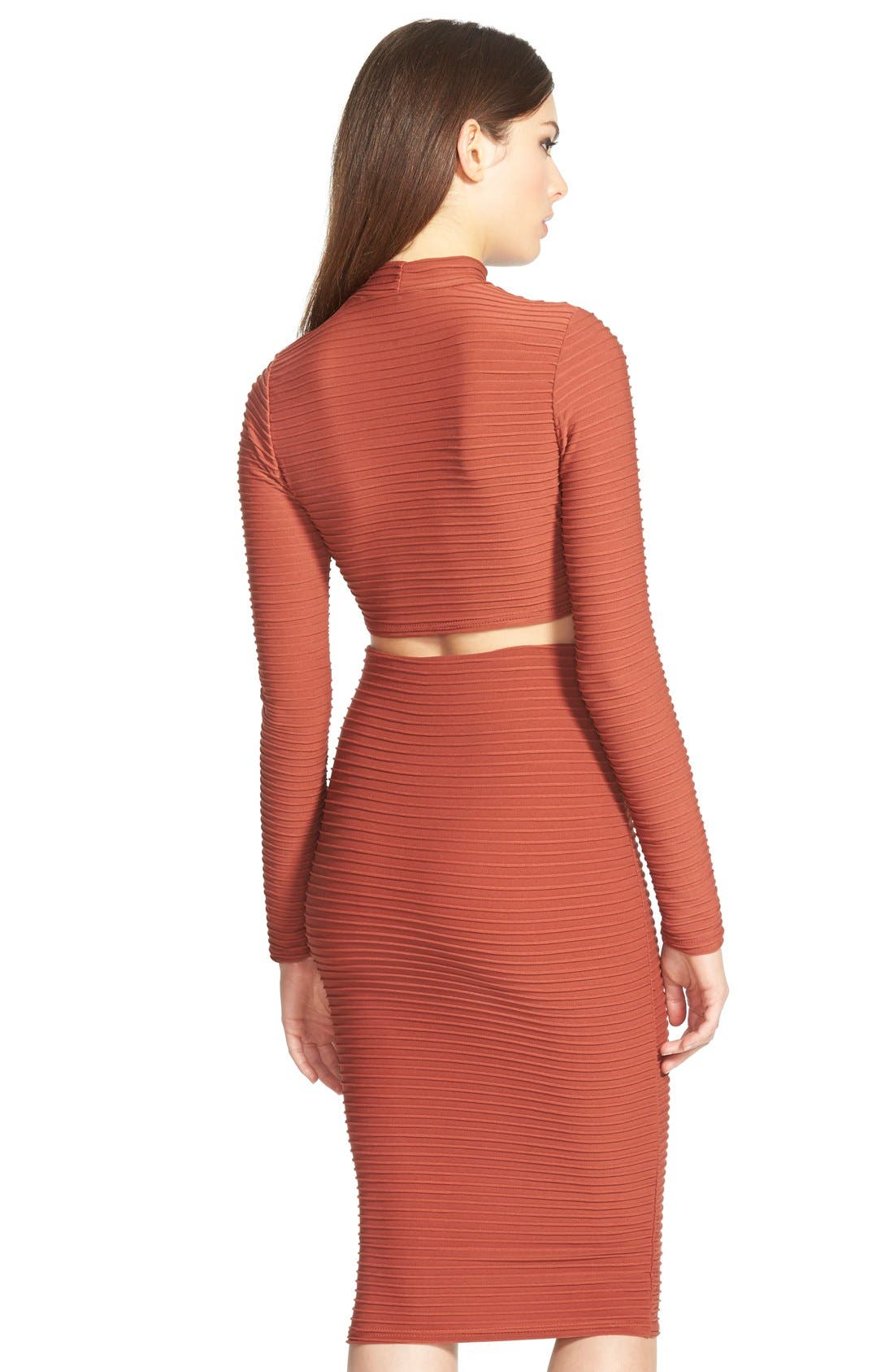Alternate Image 2  - Missguided Textured Long Sleeve Crop Top