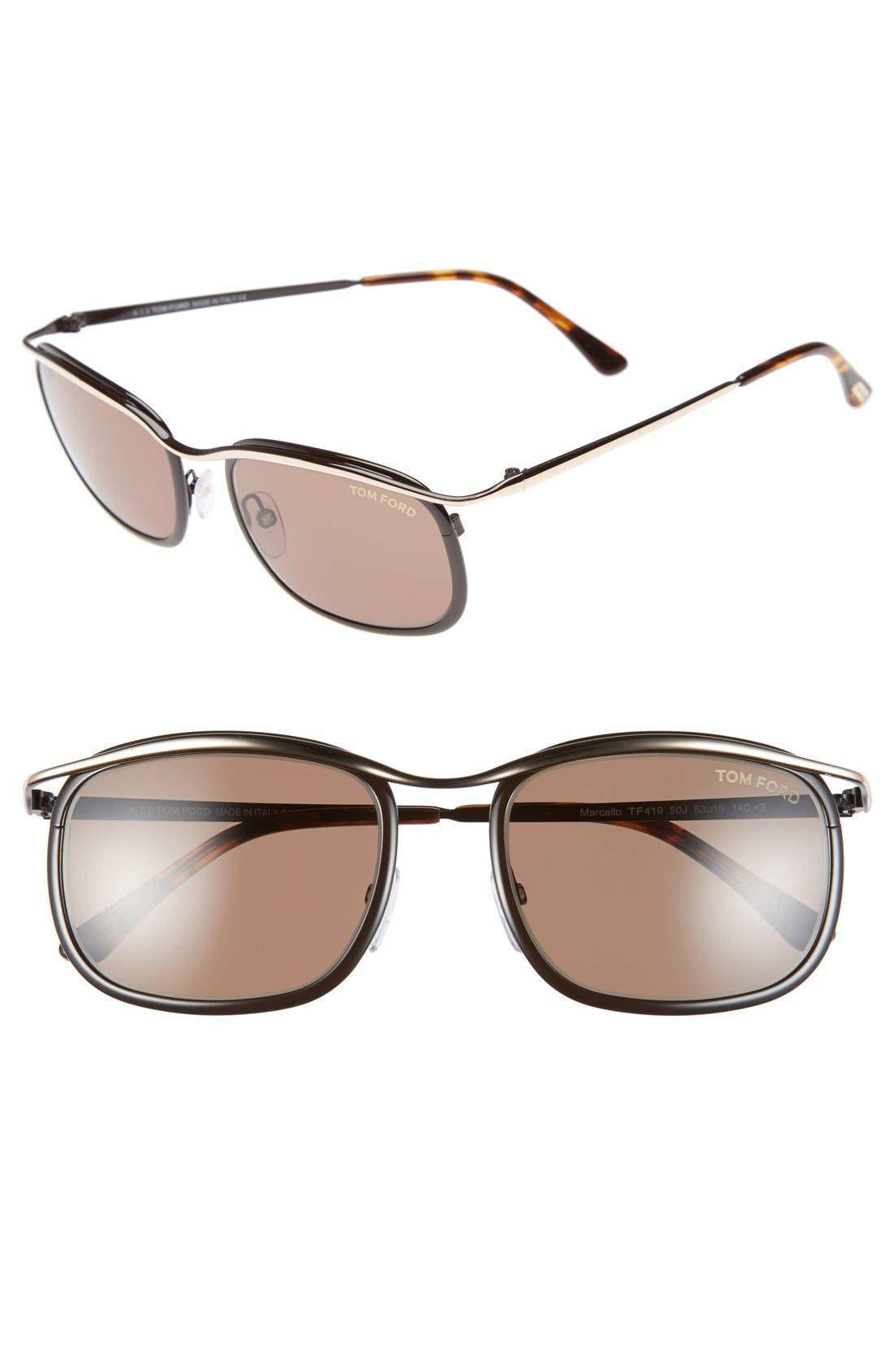 'Marcello' 53mm Sunglasses,                         Main,                         color, Shiny Black/ Ruthenium/ Roviex