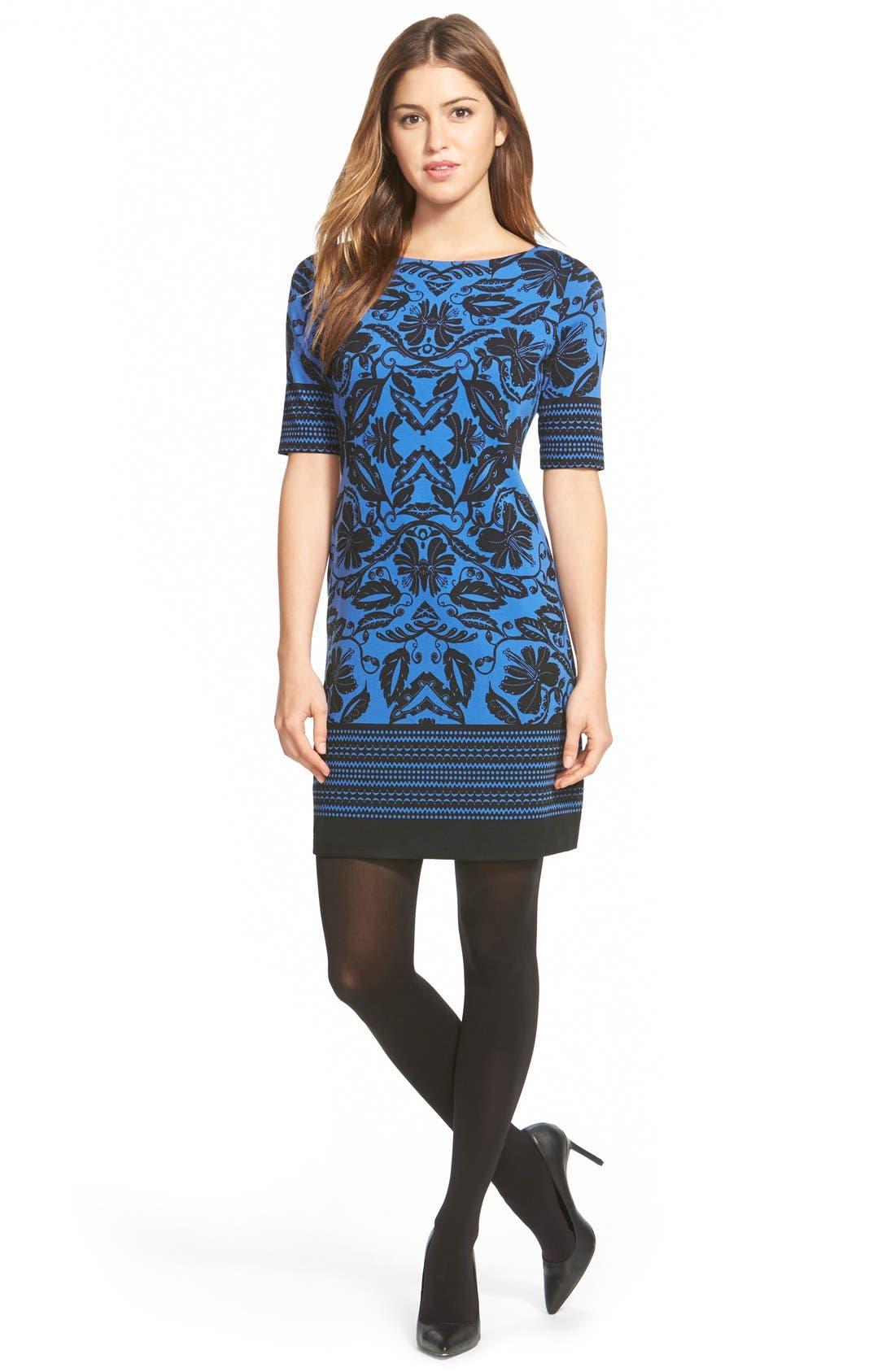 Alternate Image 5  - Eliza J Print Ponte Shift Dress (Regular & Petite)
