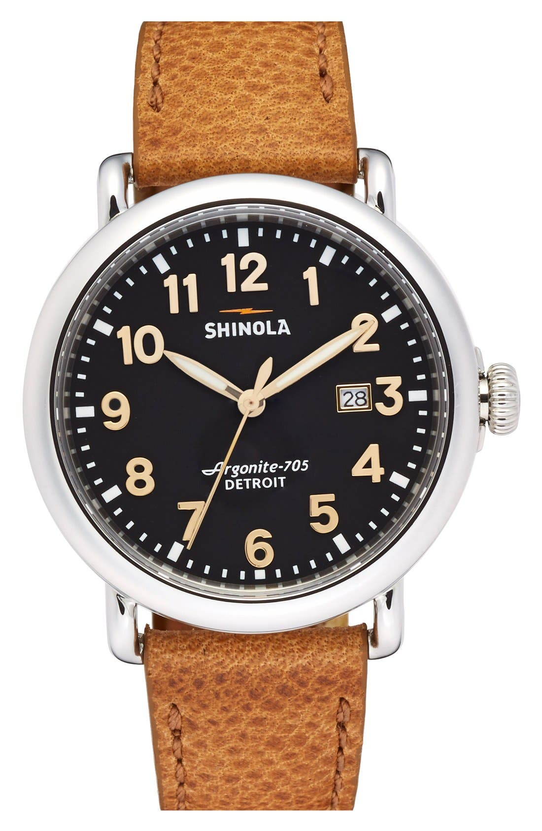 Shinola 'Runwell' Leather Strap Watch, 41mm
