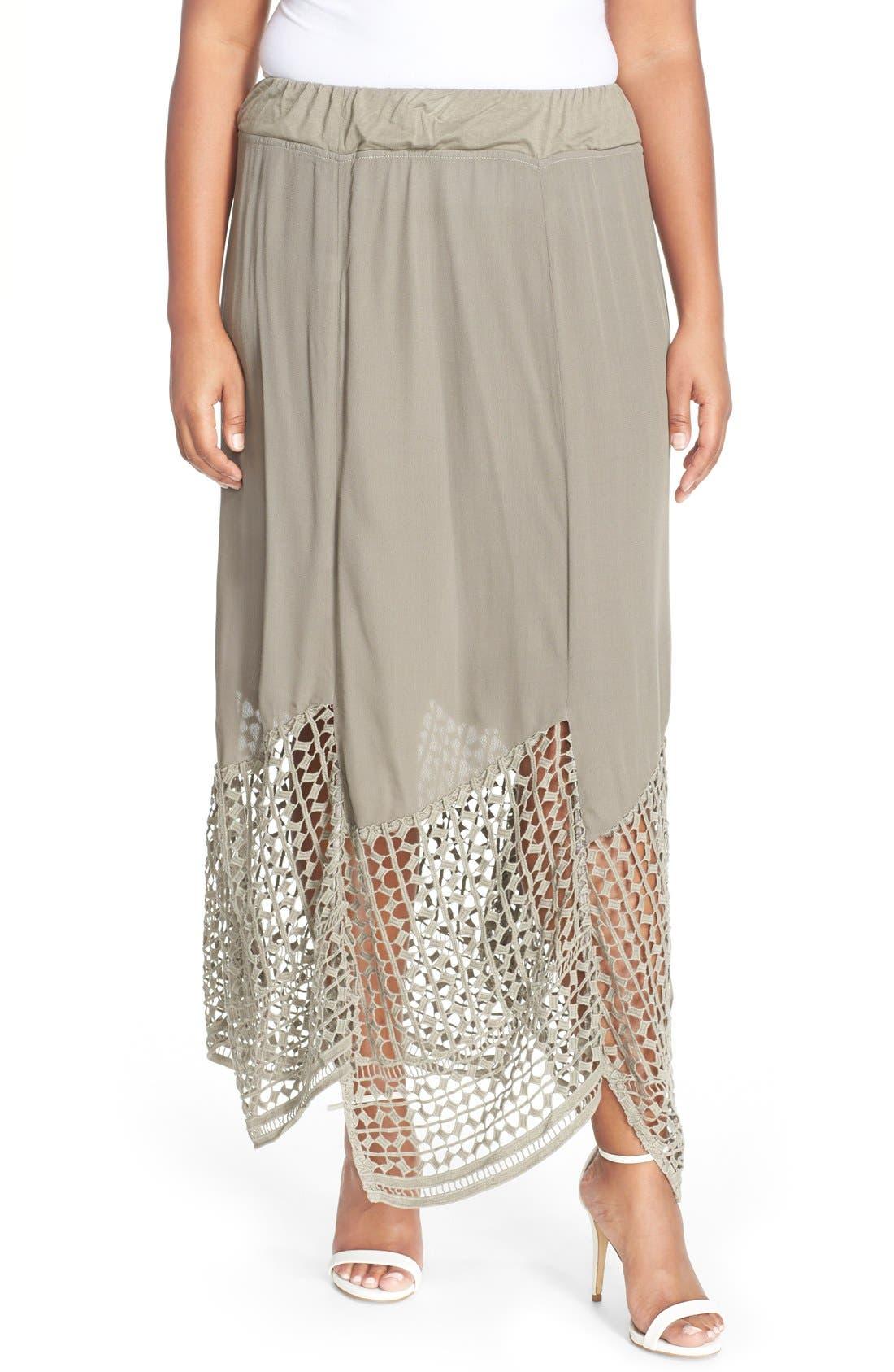 'Lauryn' Lace Border Midi Skirt,                         Main,                         color, Brown Thunder