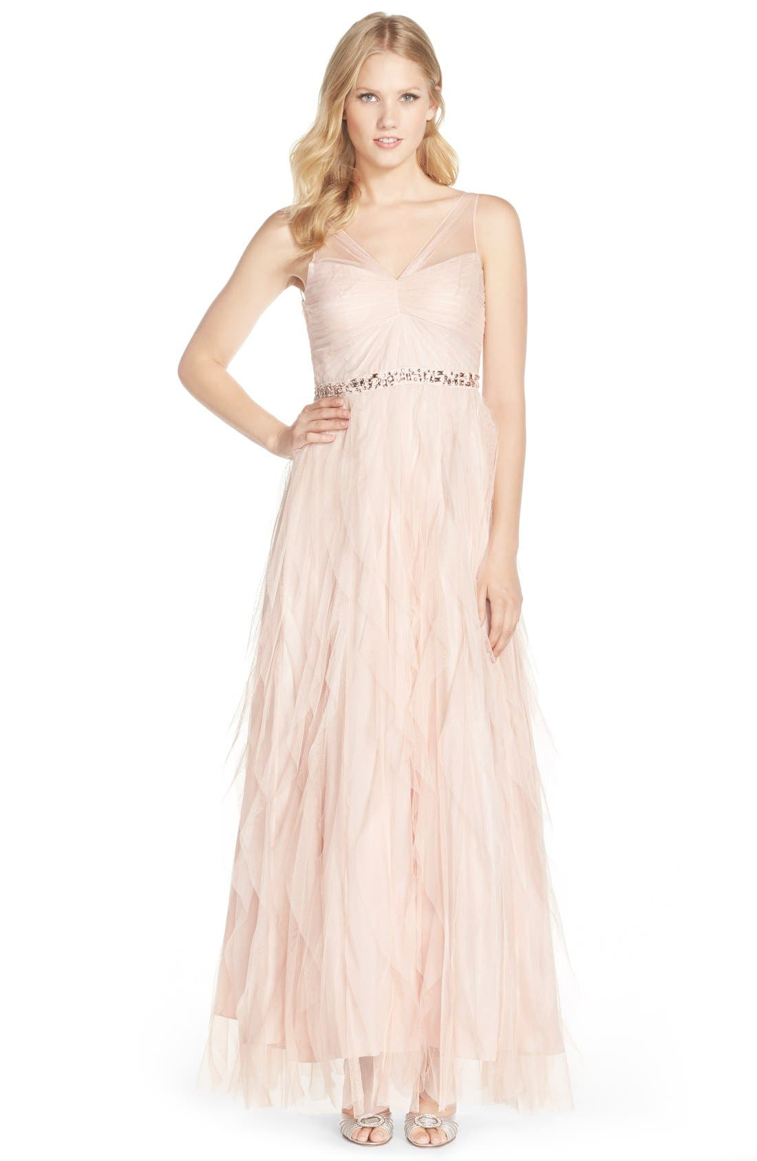 Alternate Image 1 Selected - Adrianna Papell Embellished Tiered Chiffon Gown