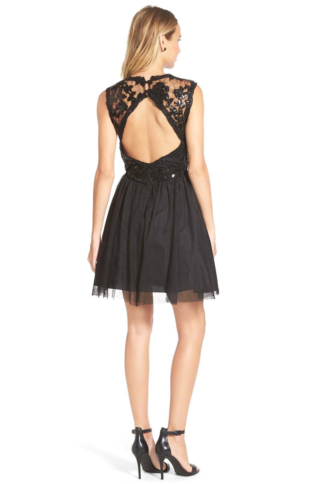 Alternate Image 2  - Sequin Hearts Sequin Lace Skater Dress