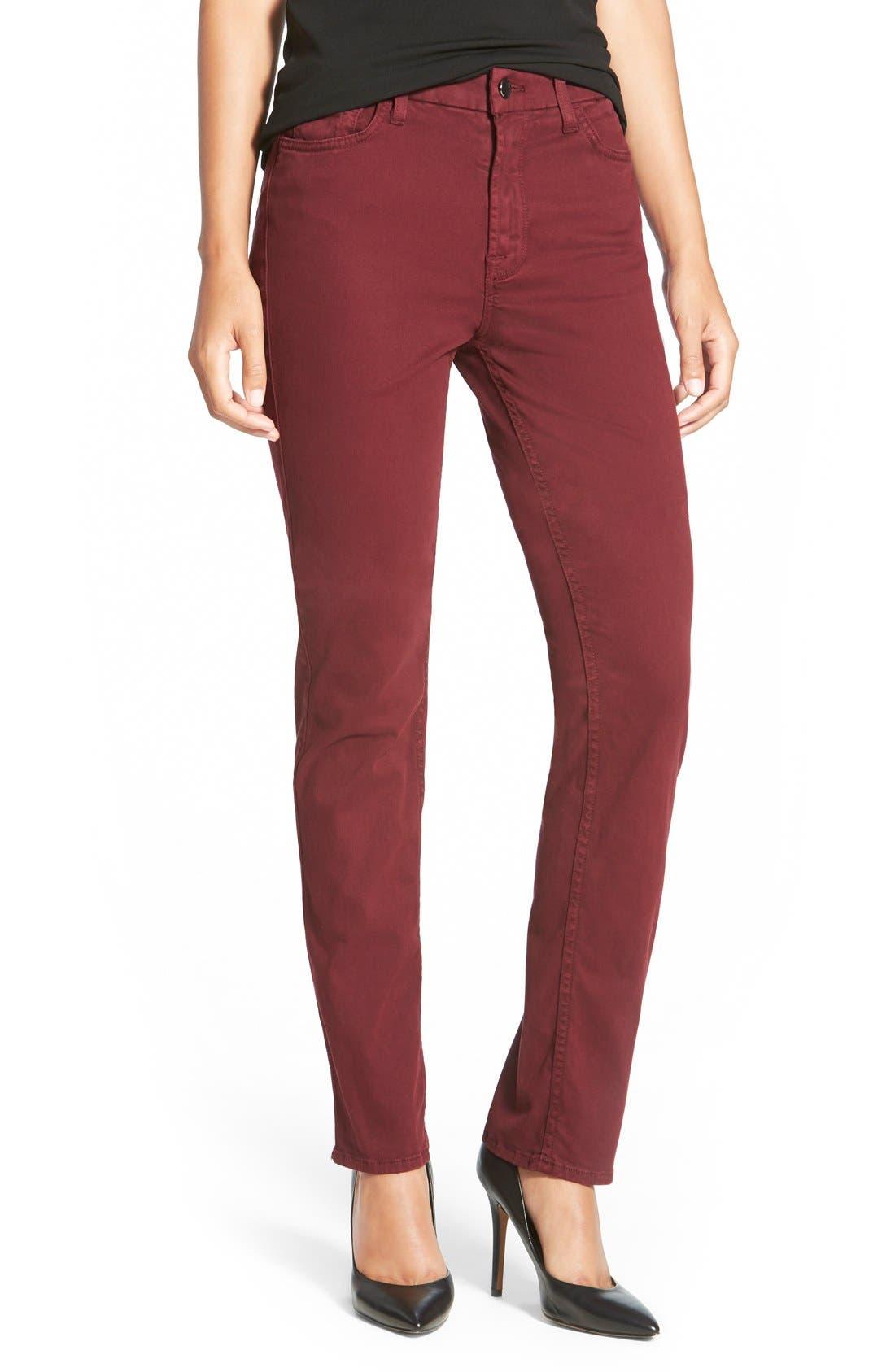 Stretch Sateen Slim Straight Leg Pants,                         Main,                         color, Burgundy