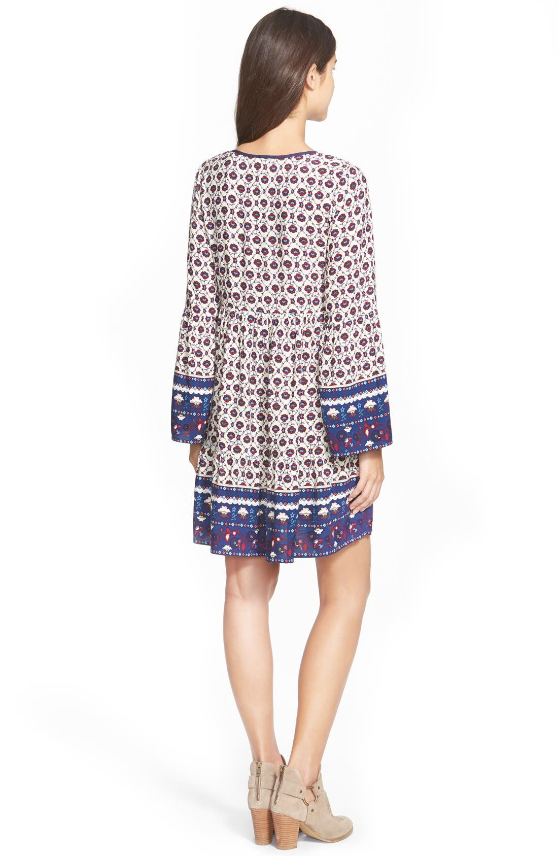 Alternate Image 2  - Sun & Shadow Tie Front Print Babydoll Dress