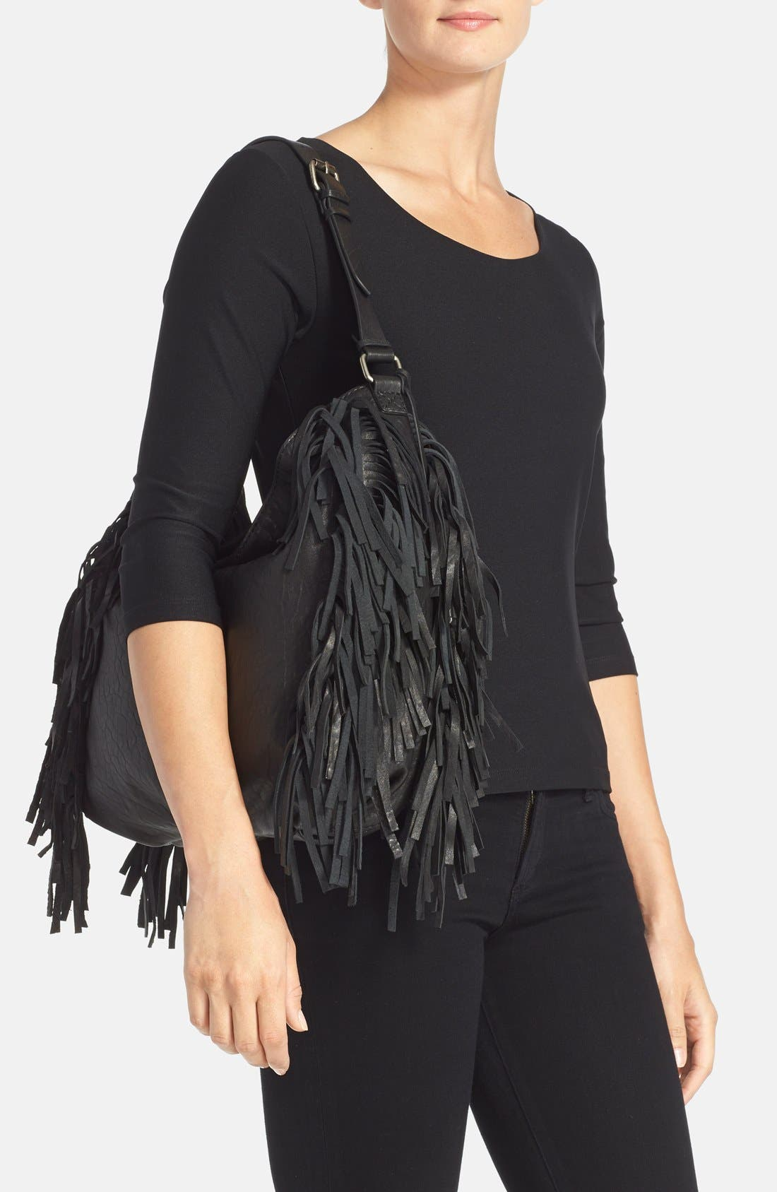 Treasure&Bond Fringe Hobo Bag,                             Alternate thumbnail 2, color,                             Black