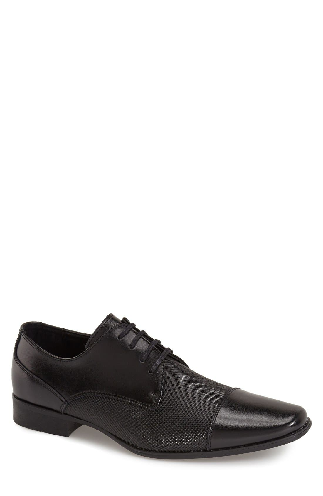 'Bram' Cap Toe Derby,                             Main thumbnail 1, color,                             Black