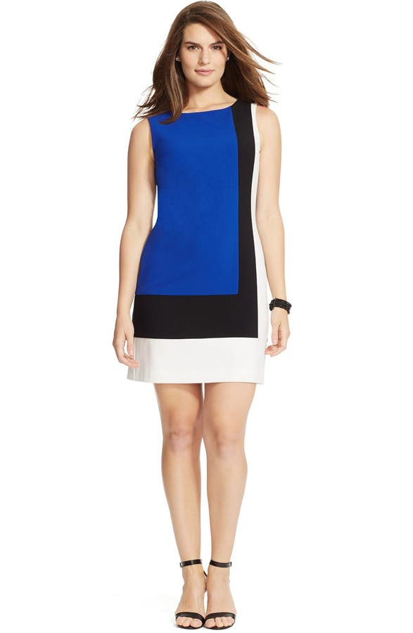 Lauren Ralph Lauren Colorblock Sleeveless Shift Dress Plus Size