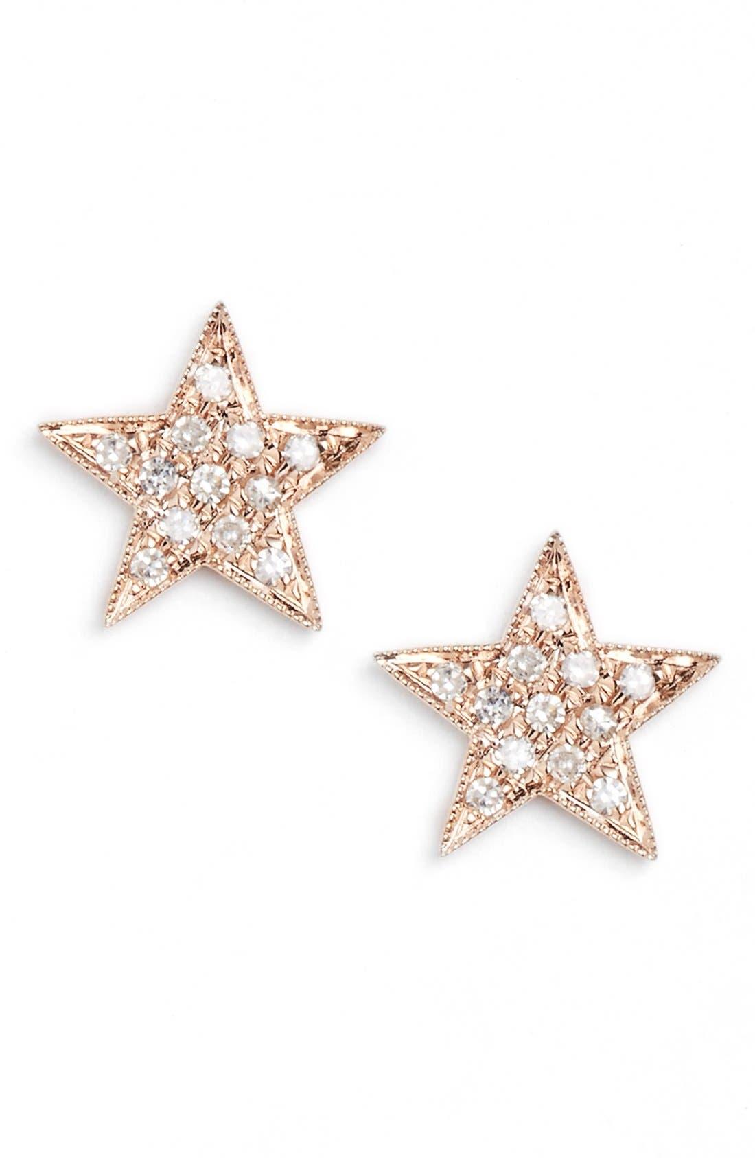 'Julianne Himiko' Diamond Star Stud Earrings,                         Main,                         color, Rose Gold