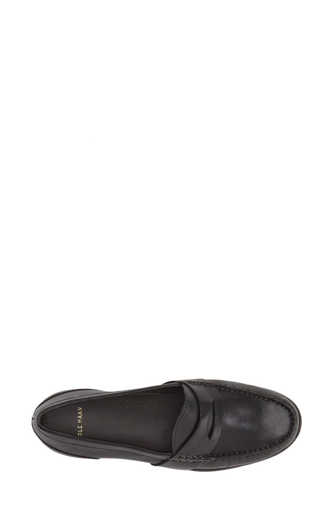 'Laurel' Moc Loafer,                             Alternate thumbnail 3, color,                             Black Leather