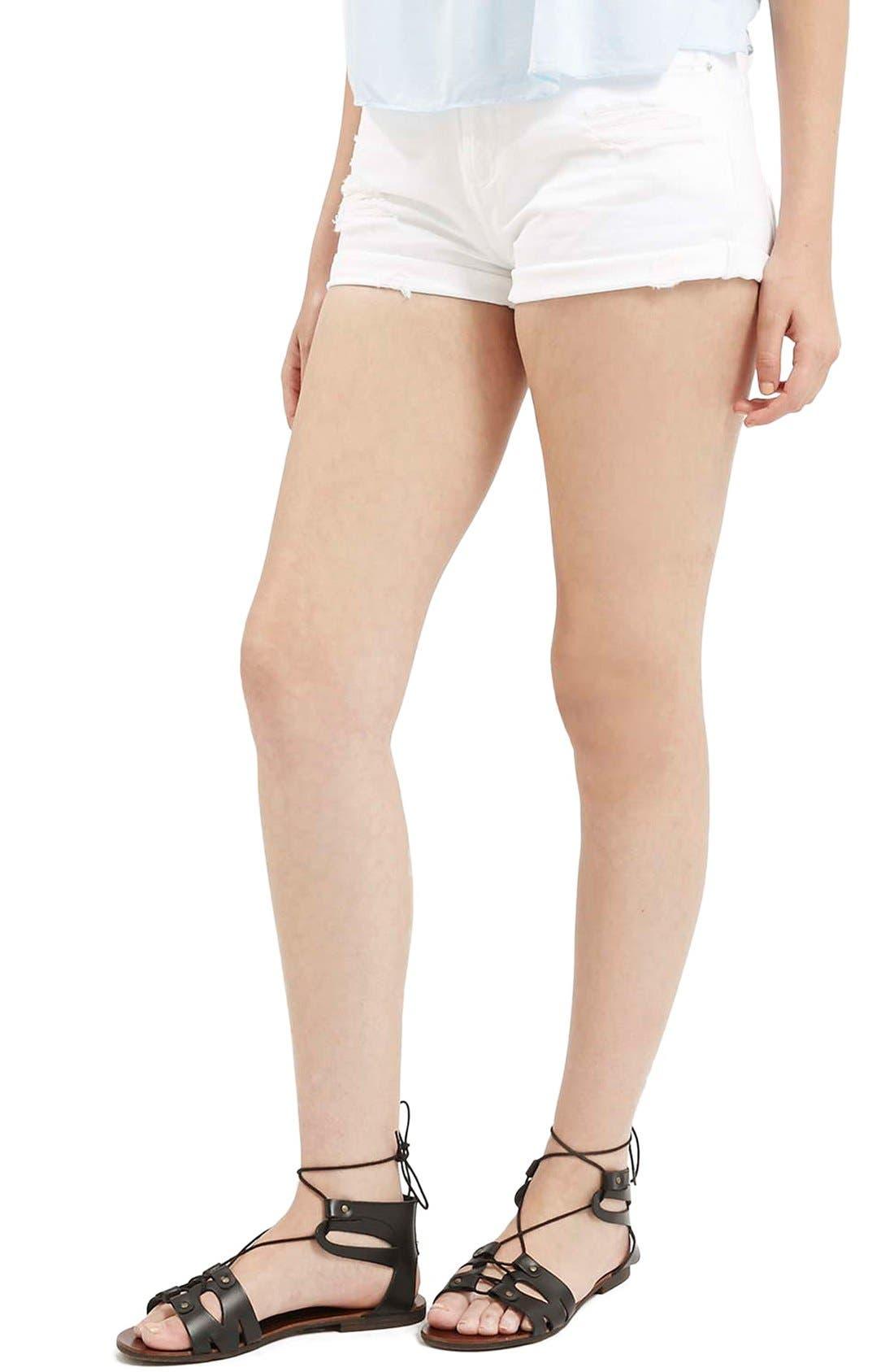 Main Image - Topshop Moto 'Rosa' Ripped Denim Shorts (White)