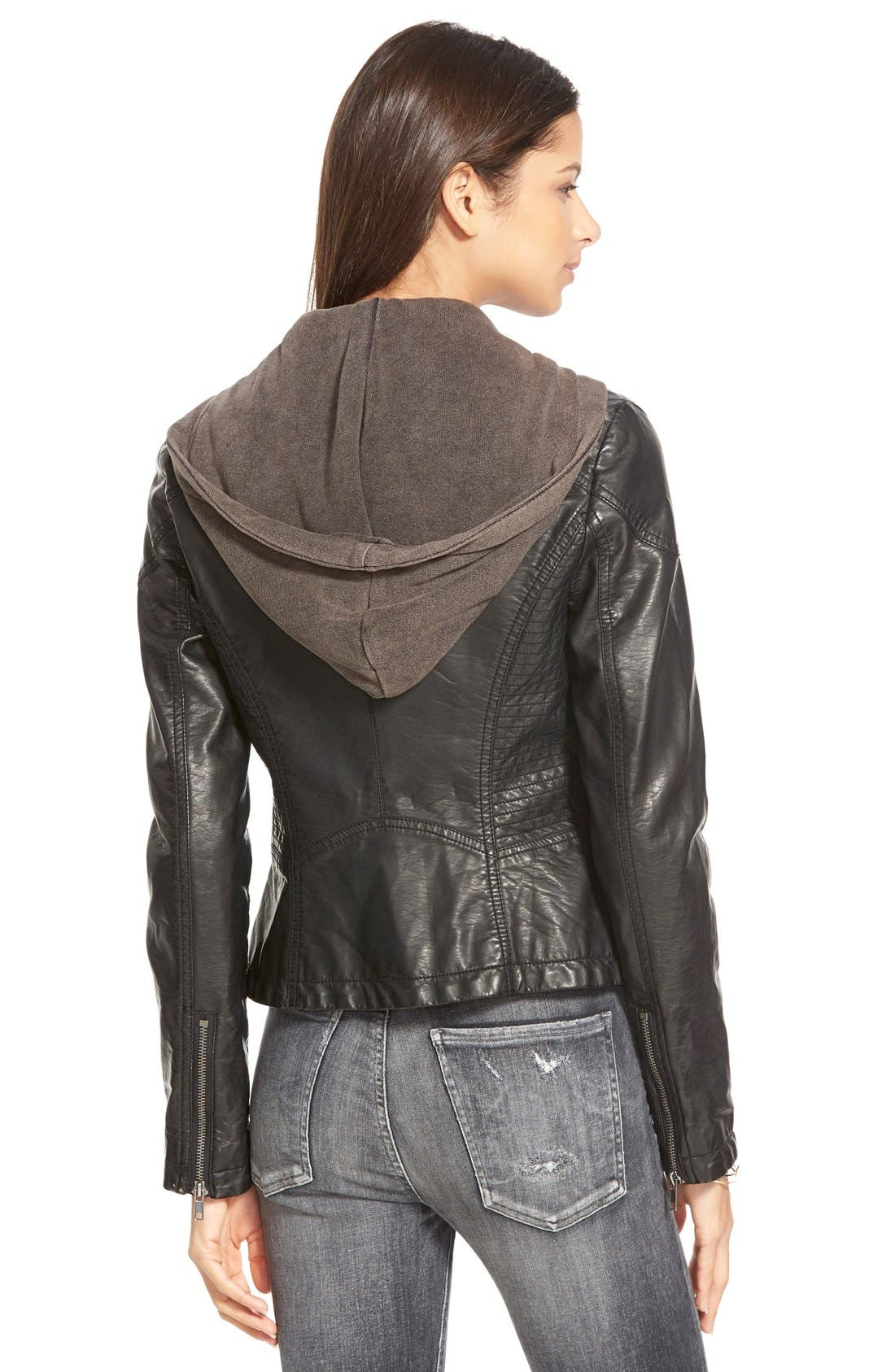 Hooded Faux Leather Moto Jacket,                             Alternate thumbnail 2, color,                             Black