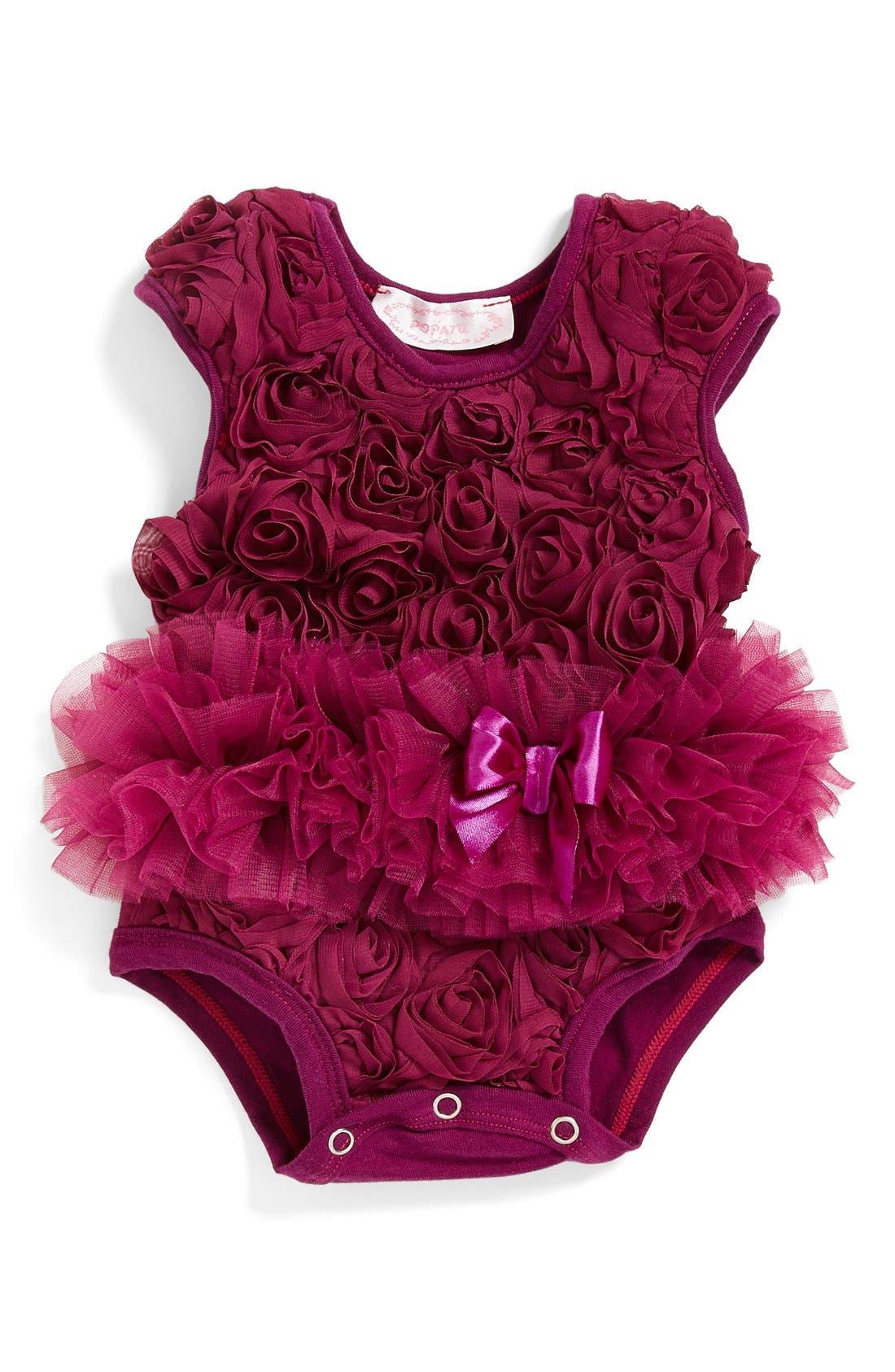 Ribbon Rosette Flower Bodysuit,                         Main,                         color, Purple