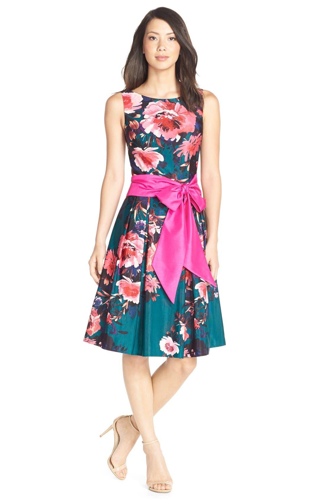 Alternate Image 3  - Eliza JFloral Print Faille Fit & Flare Dress (Regular & Petite)
