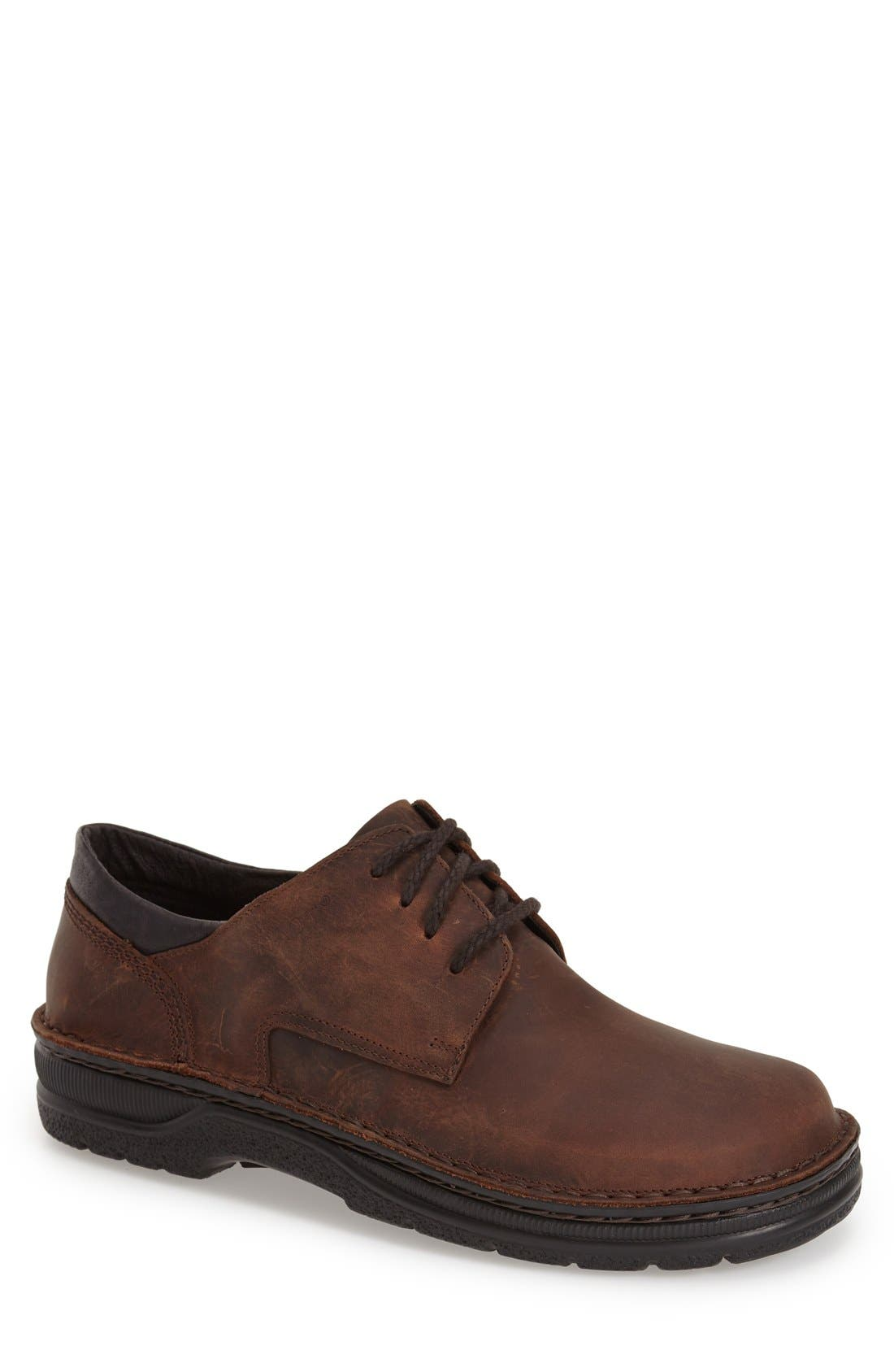 Denali Plain Toe Derby,                             Main thumbnail 1, color,                             Brown Leather