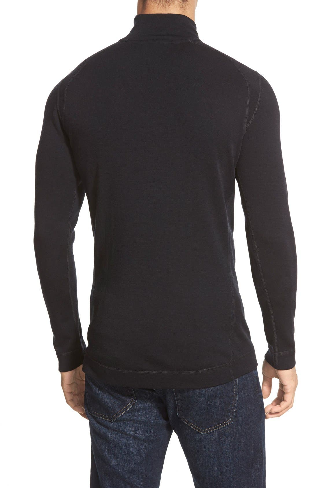 Merino 250 Base Layer Quarter Zip Pullover,                             Alternate thumbnail 2, color,                             Black