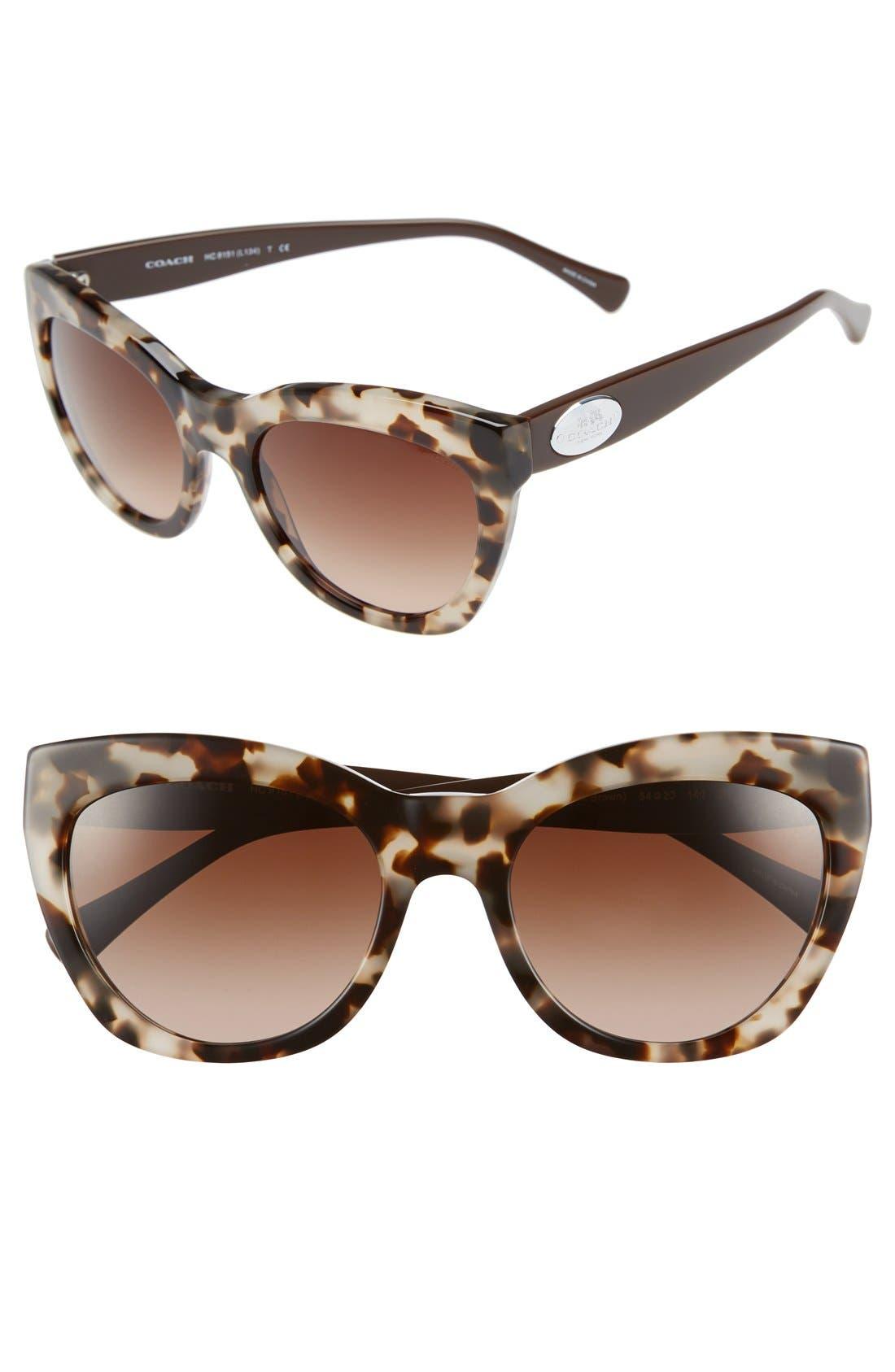 54mm Retro Sunglasses,                             Main thumbnail 1, color,                             Light Tortoise