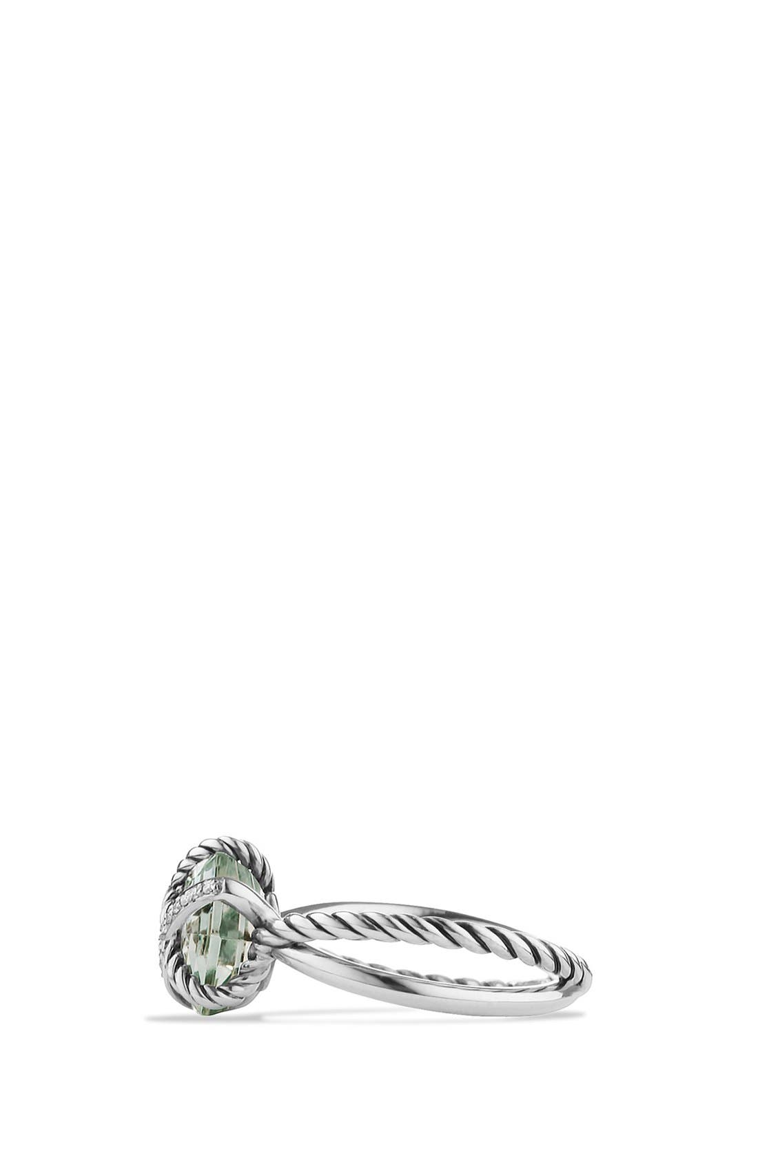 Cable Wrap Ring with Semiprecious Stone and Diamonds,                             Alternate thumbnail 3, color,                             Prasiolite