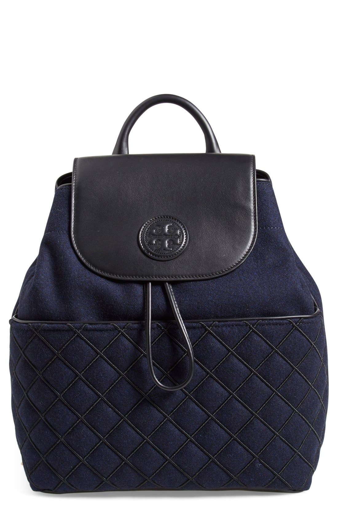 Main Image - Tory Burch 'Marion' QuiltedFlannel Backpack