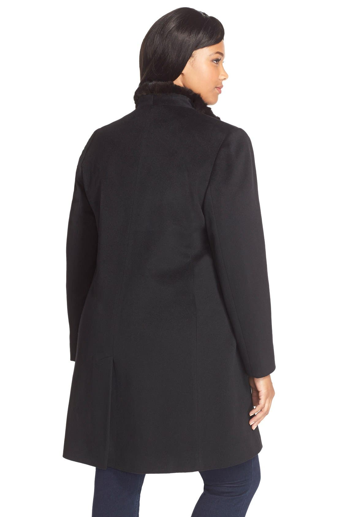 Wool Wing Collar Coat with Genuine Mink Trim,                             Alternate thumbnail 2, color,                             Black