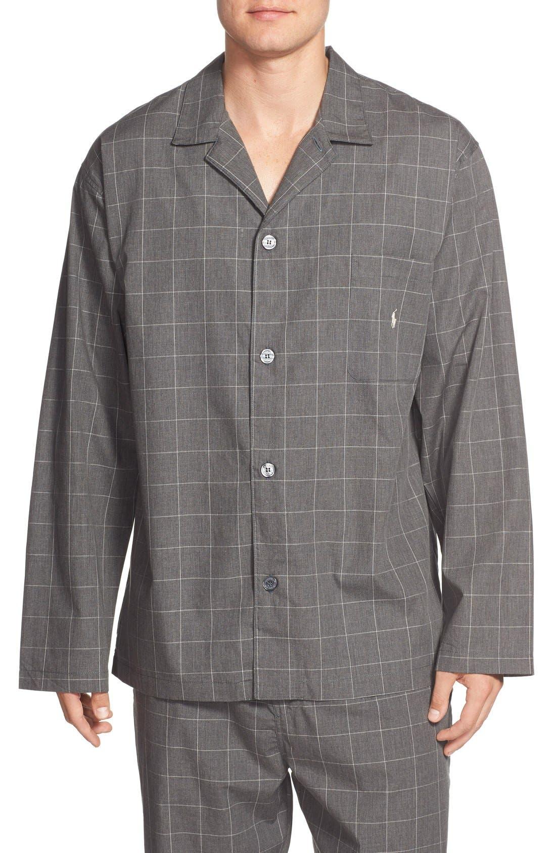 Woven Pajama Top,                         Main,                         color, Charcoal