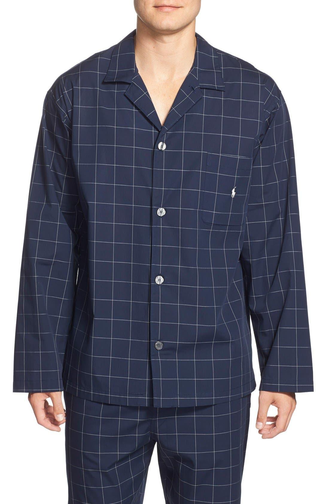 Woven Pajama Top,                         Main,                         color, Cruise Navy