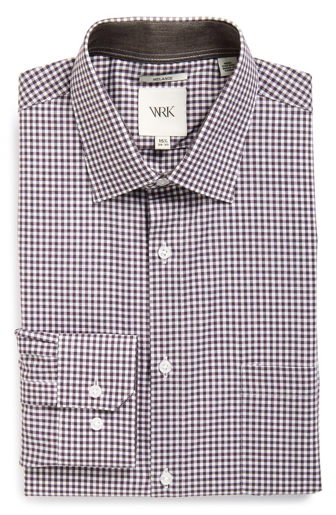 Extra Trim Fit Check Dress Shirt,                             Main thumbnail 1, color,                             Plum