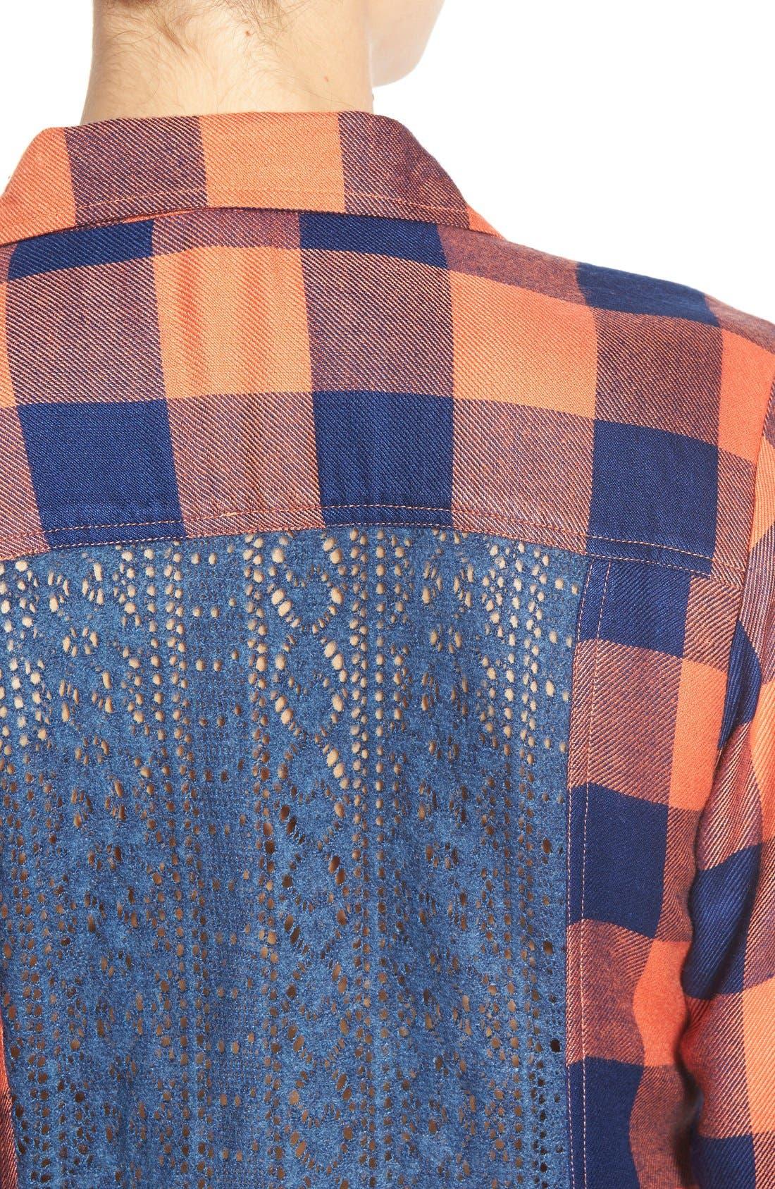 Alternate Image 4  - Rip Curl 'Dweller' Lace Back Flannel Shirt