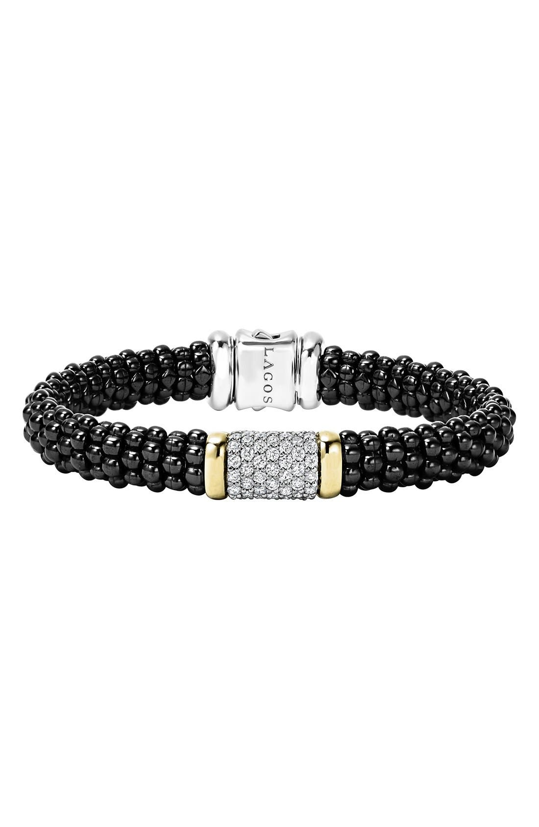 Main Image - LAGOS Black Caviar Diamond Pavé Rope Bracelet