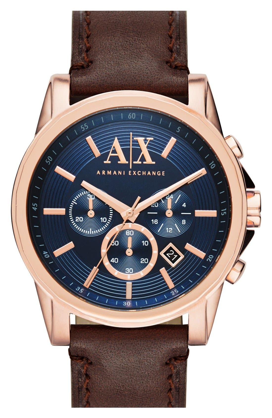 AX ARMANI EXCHANGE Chronograph Leather Strap, 45mm