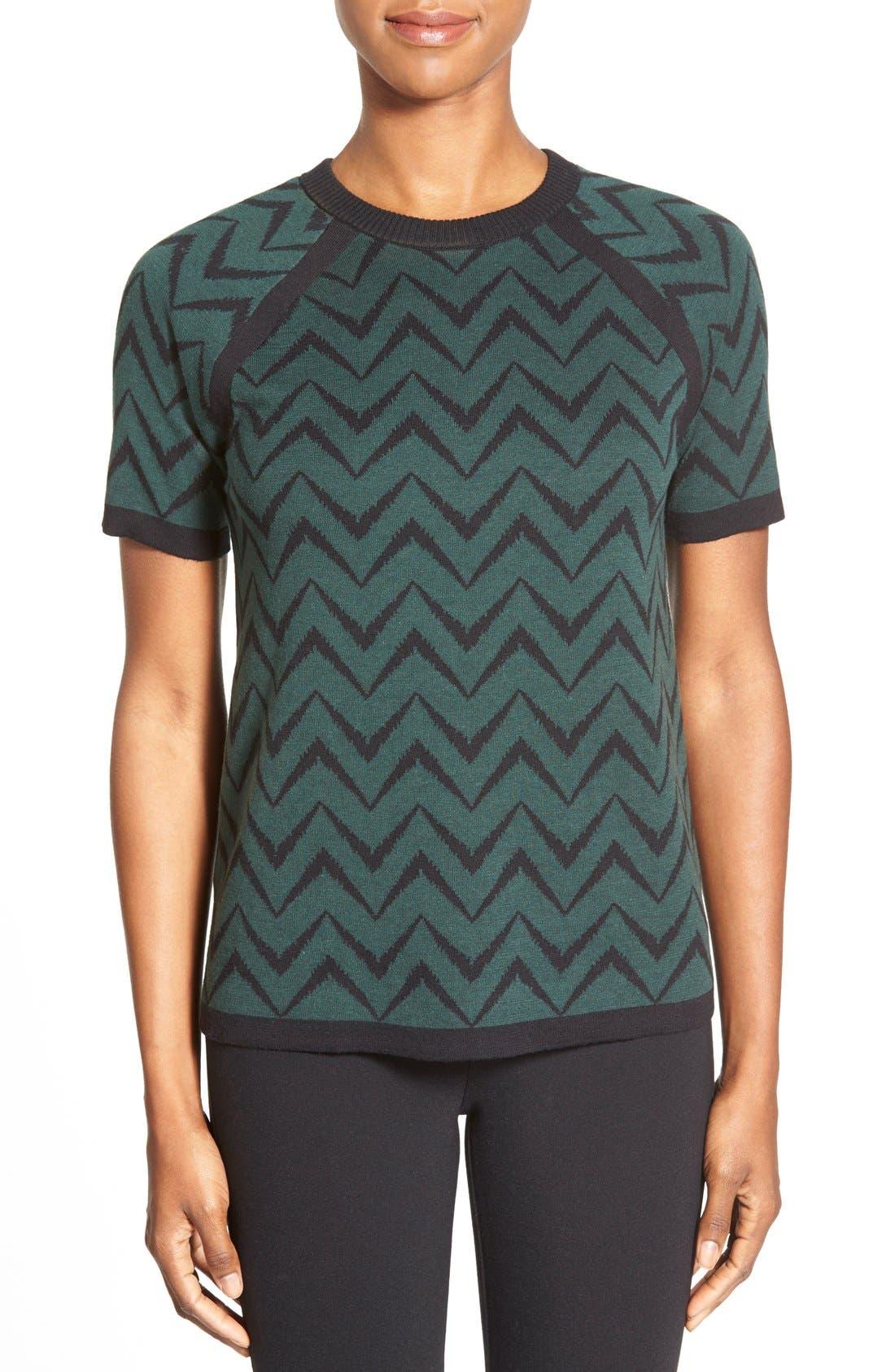 Alternate Image 1 Selected - Anne Klein Chevron Stripe Crewneck Sweater