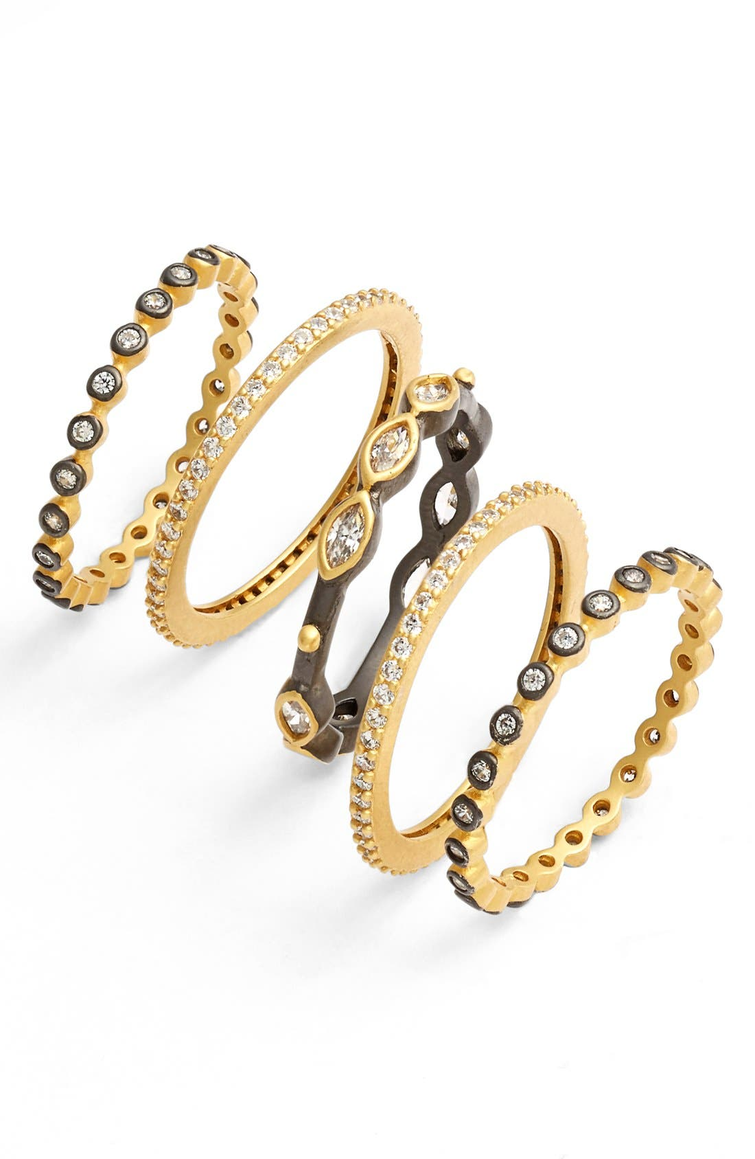 Delicate Stackable Rings,                         Main,                         color, Gold/ Gunmetal/ Clear