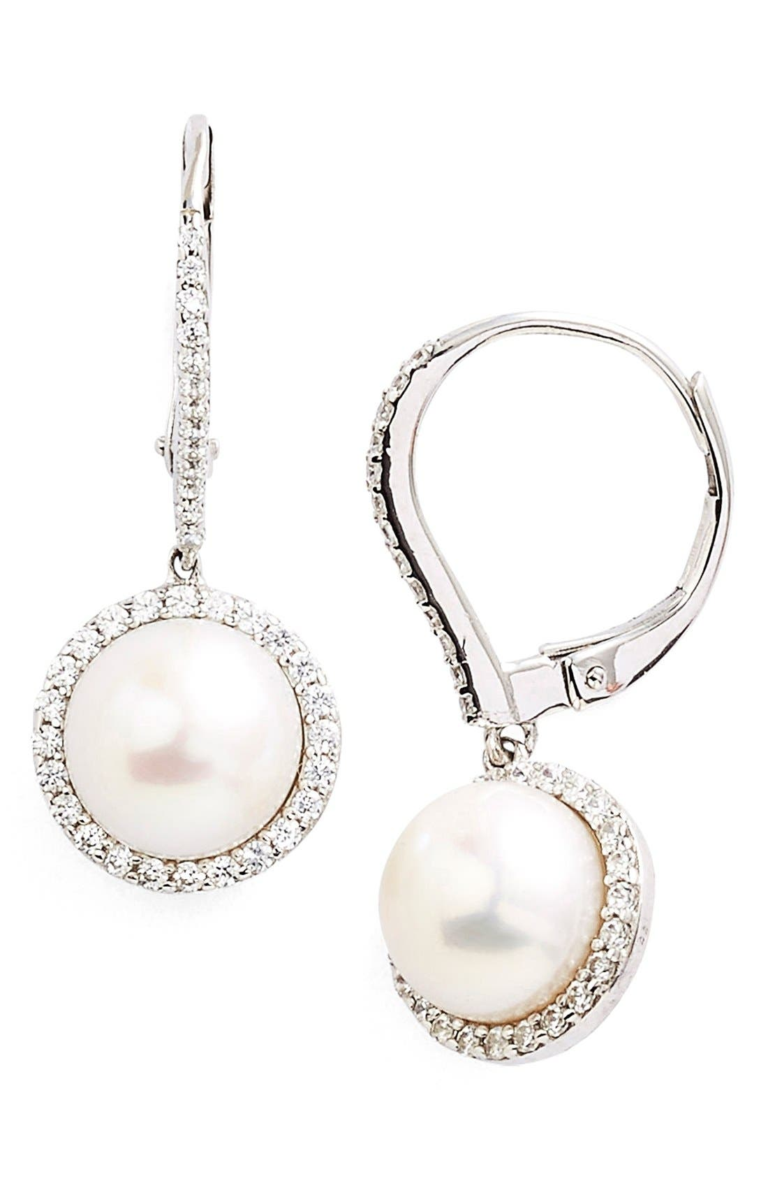 'Lassaire' Pearl Drop Earrings,                             Main thumbnail 1, color,                             Silver/ Clear