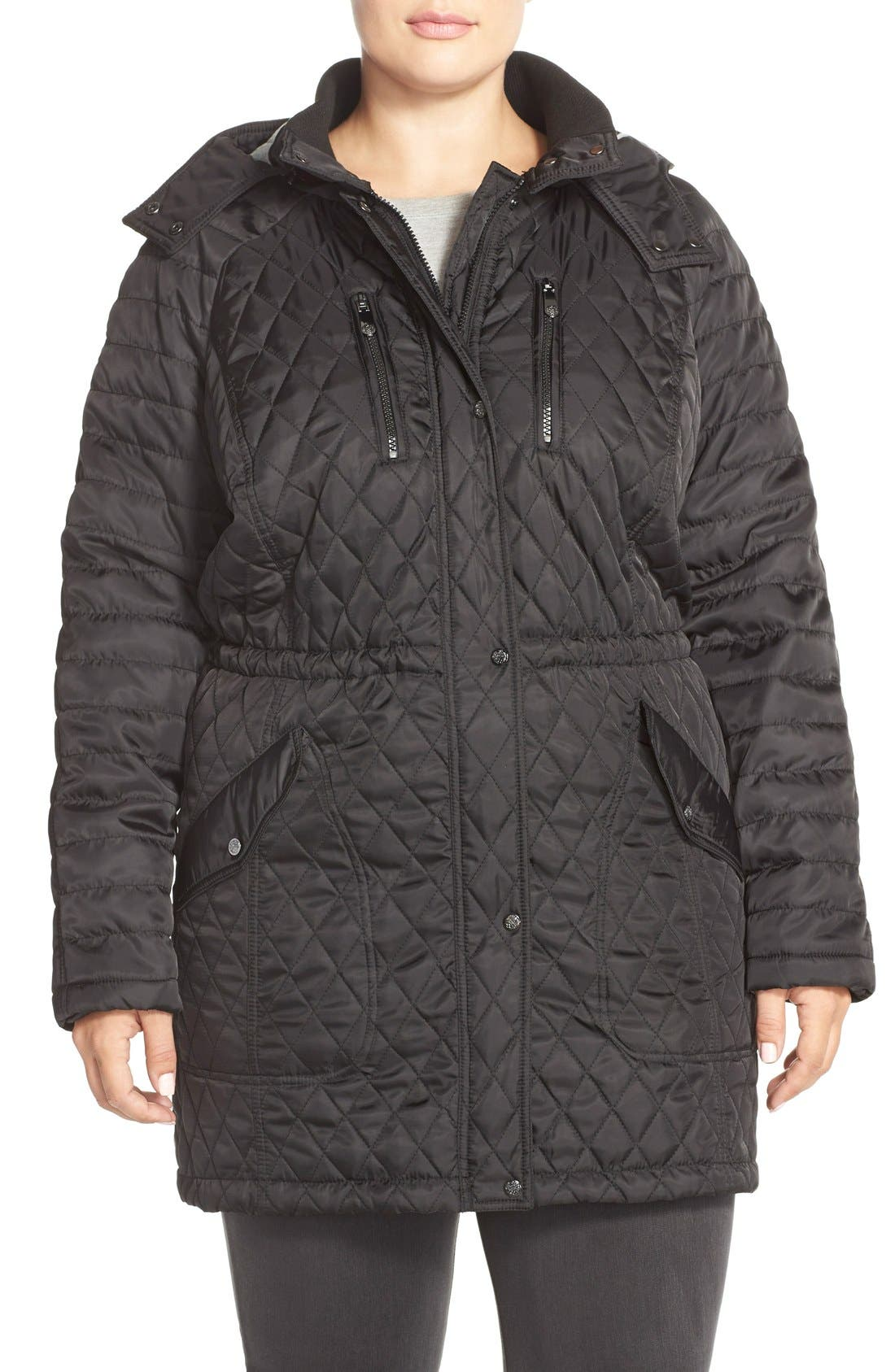 Vince CamutoDetachable Hood Quilted Anorak (Plus Size)