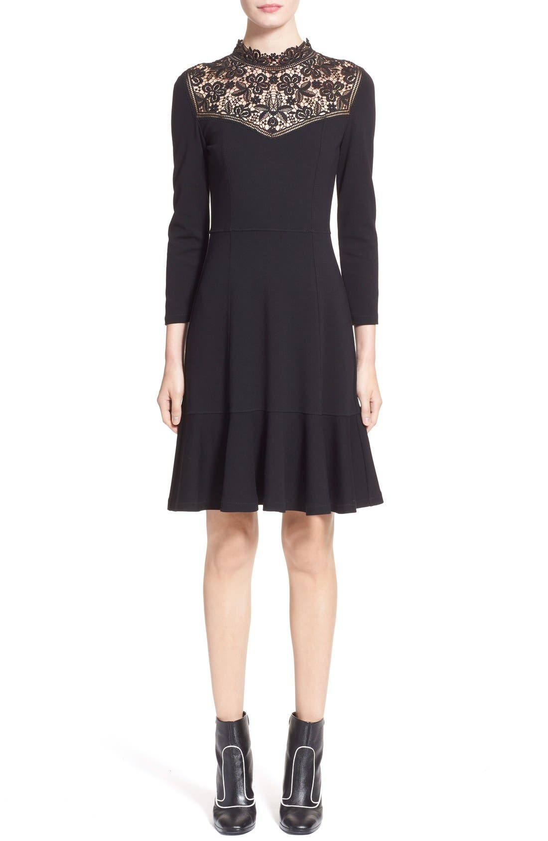 'Rieko' Lace Inset Jersey Dress,                             Main thumbnail 1, color,                             Black