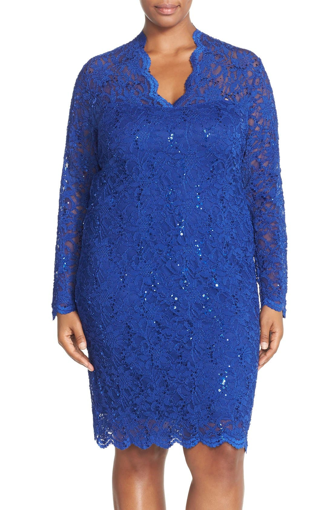 Alternate Image 1 Selected - Marina Sequin Stretch Lace Sheath Dress (Plus Size)