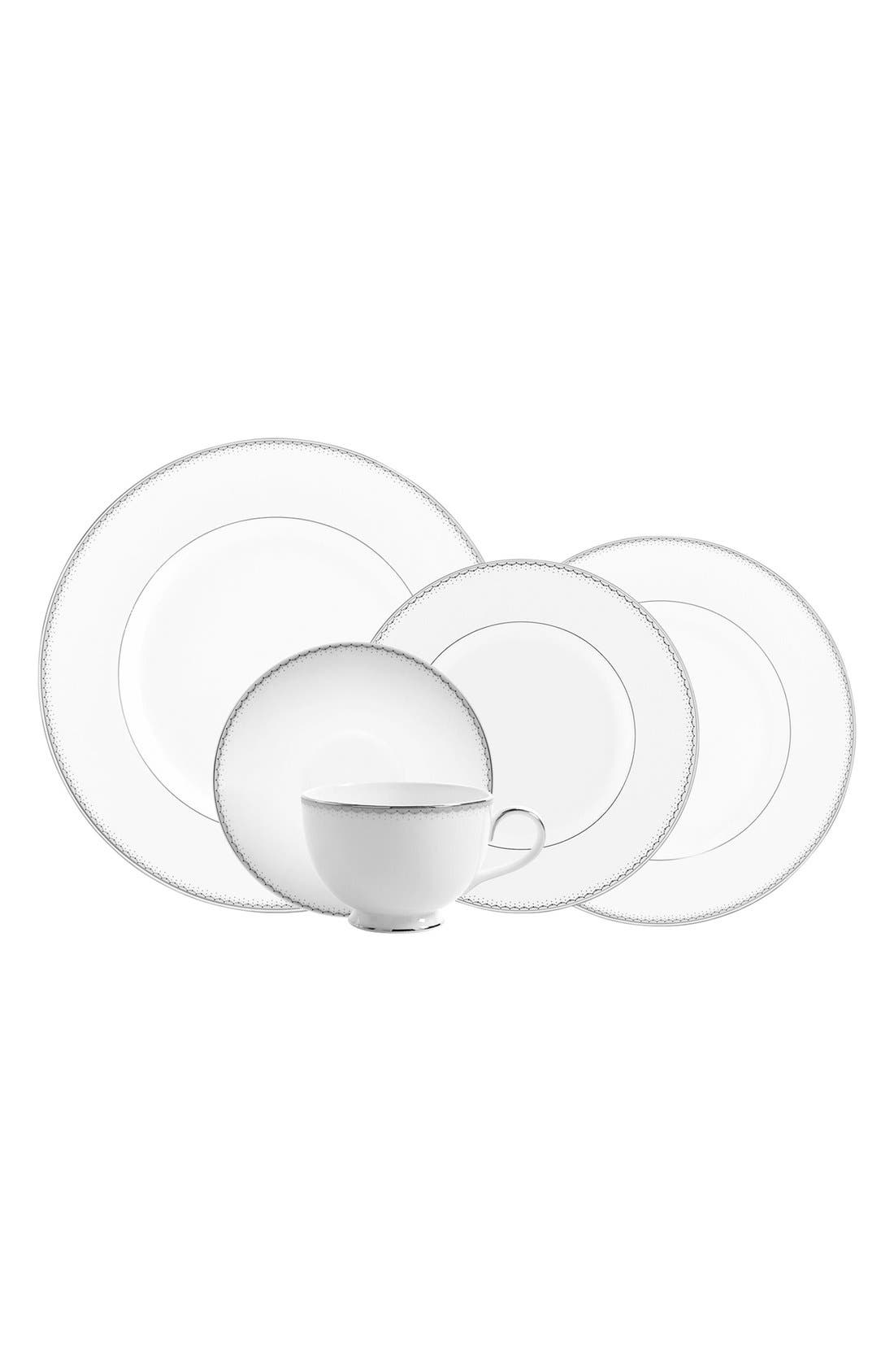 Main Image - Monique Lhuillier Waterford 'Dentelle' 5-Piece Bone China Dinnerware Place Setting