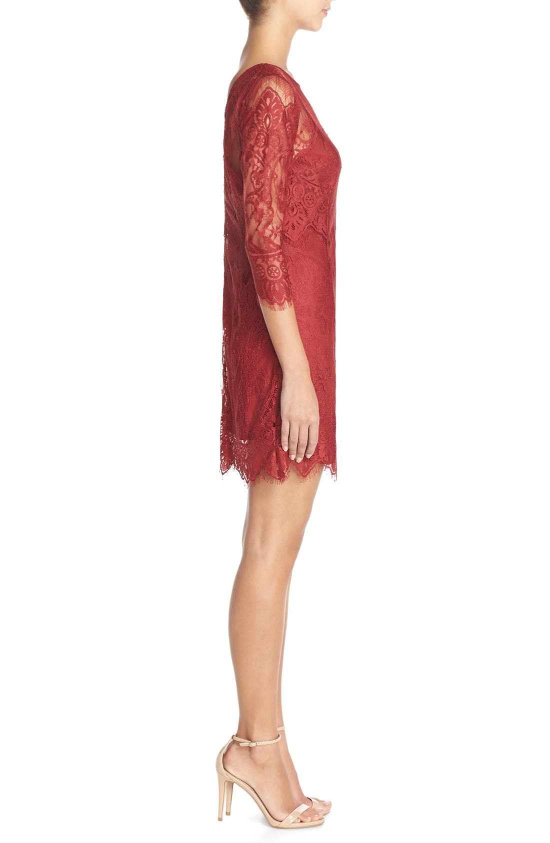 'Natalia' Lace Sheath Dress,                             Alternate thumbnail 3, color,                             Bordeaux