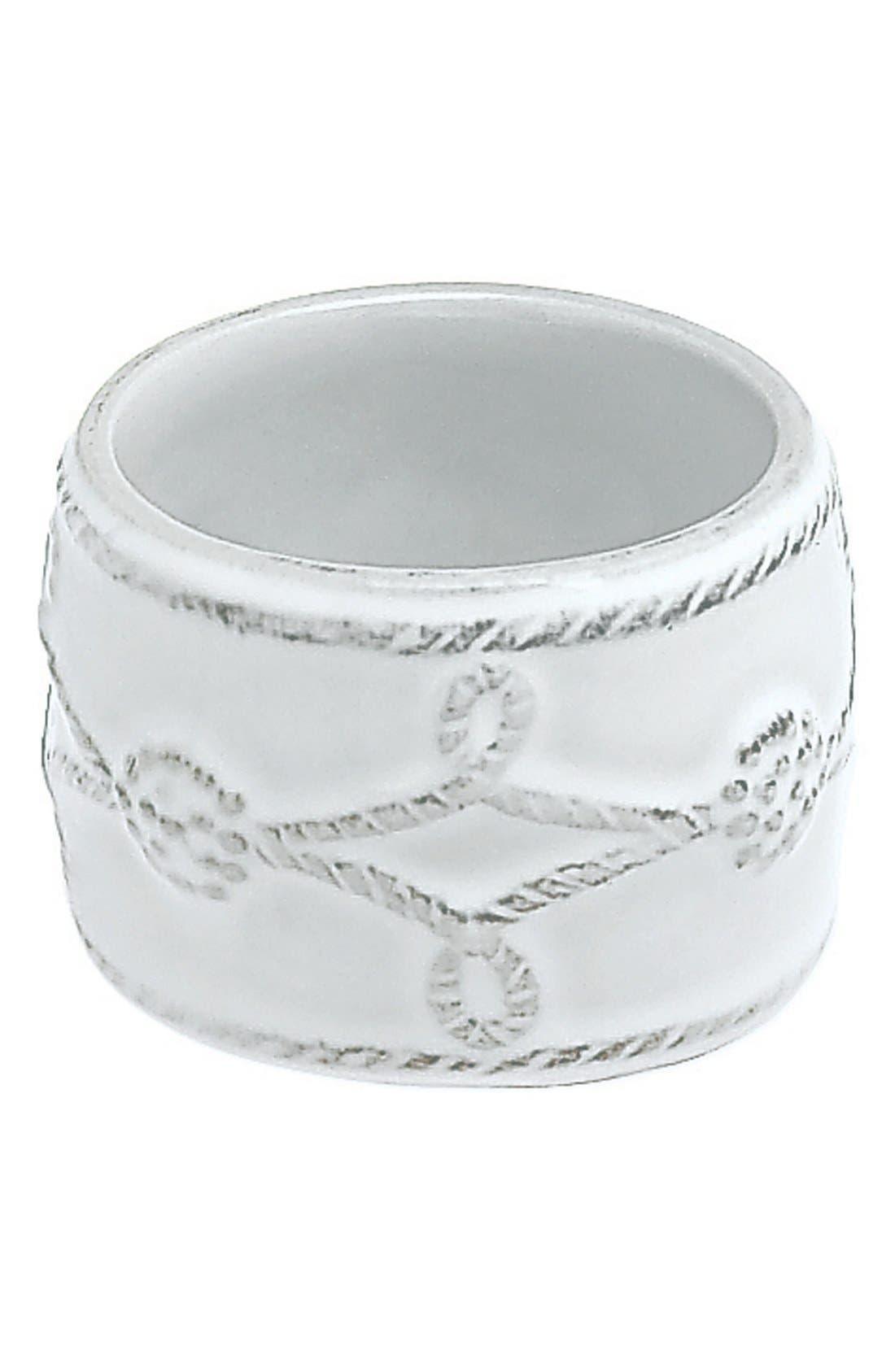 'Berry and Thread' Ceramic Napkin Ring,                         Main,                         color, Whitewash