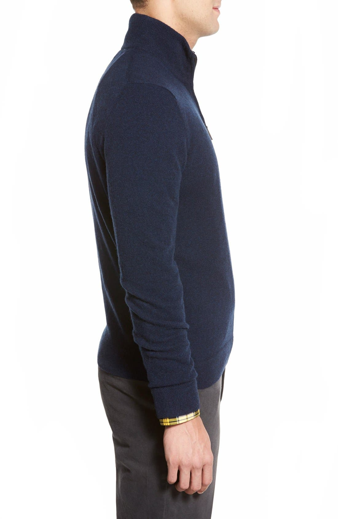 Quarter Zip Cashmere Sweater,                             Alternate thumbnail 3, color,                             Blue Estate Heather