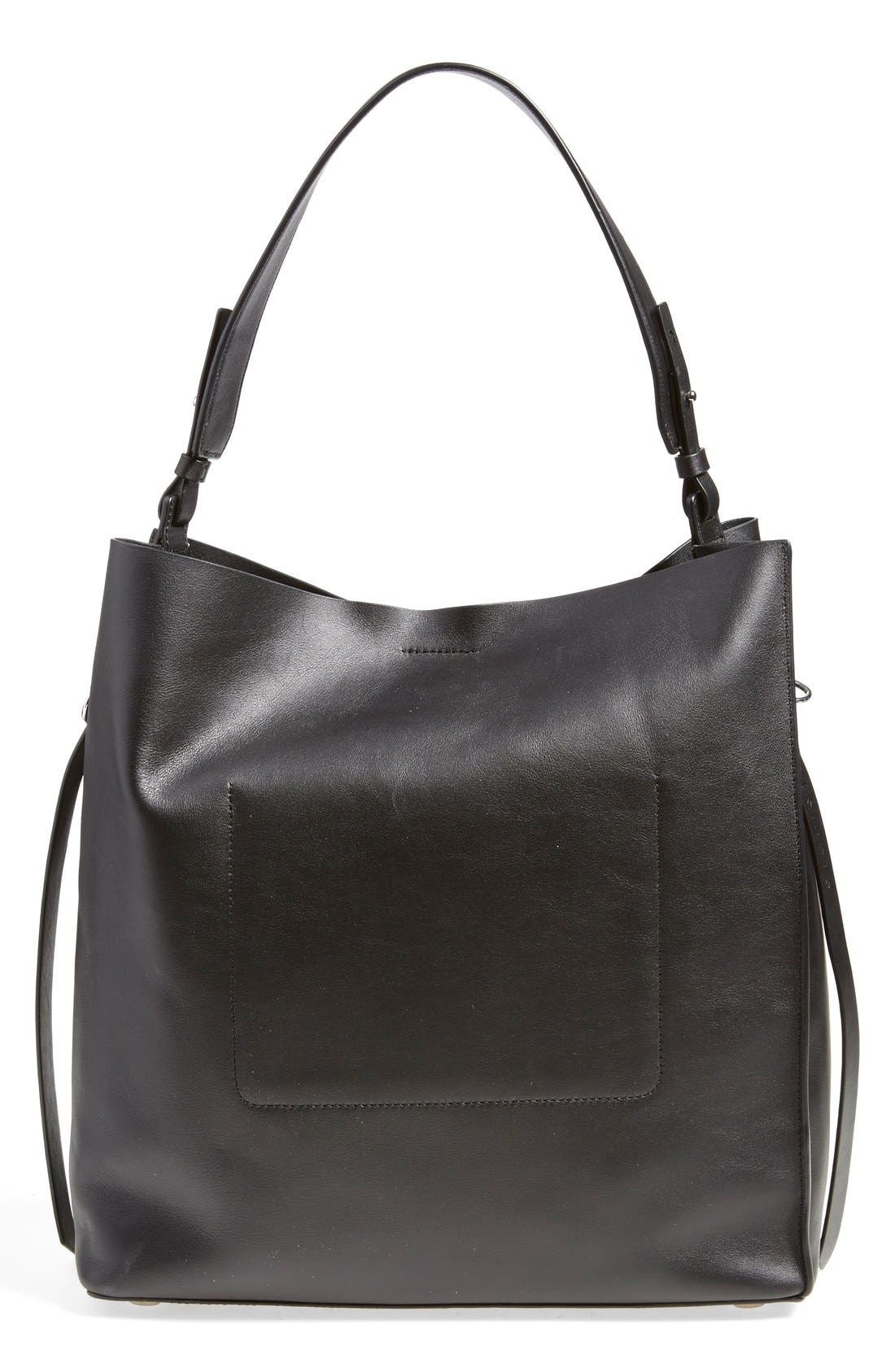 'Paradise North/South' Calfskin Leather Tote,                             Alternate thumbnail 3, color,                             Black/ Black