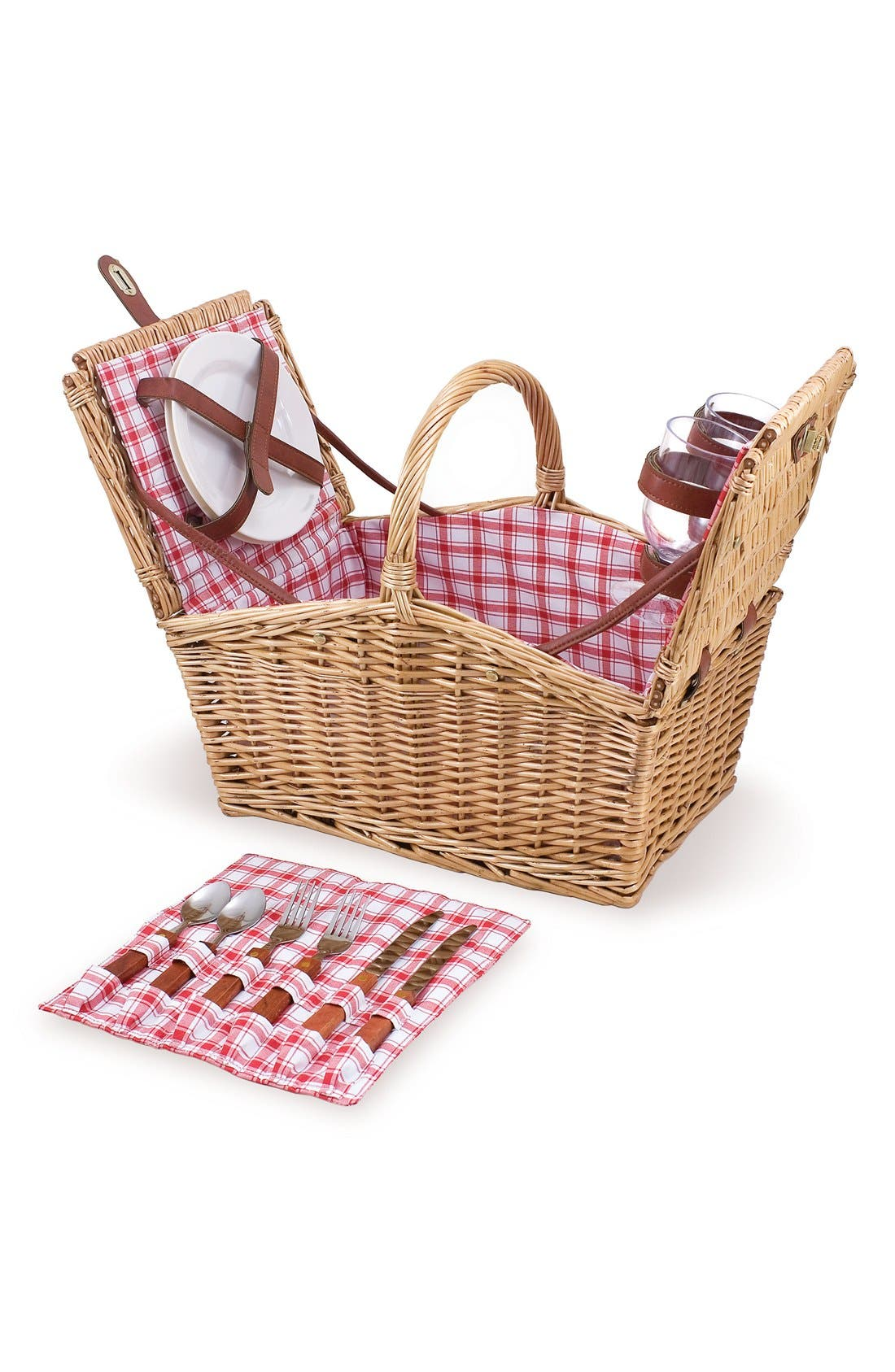 'Piccadilly' Wicker Picnic Basket,                             Main thumbnail 1, color,                             Red