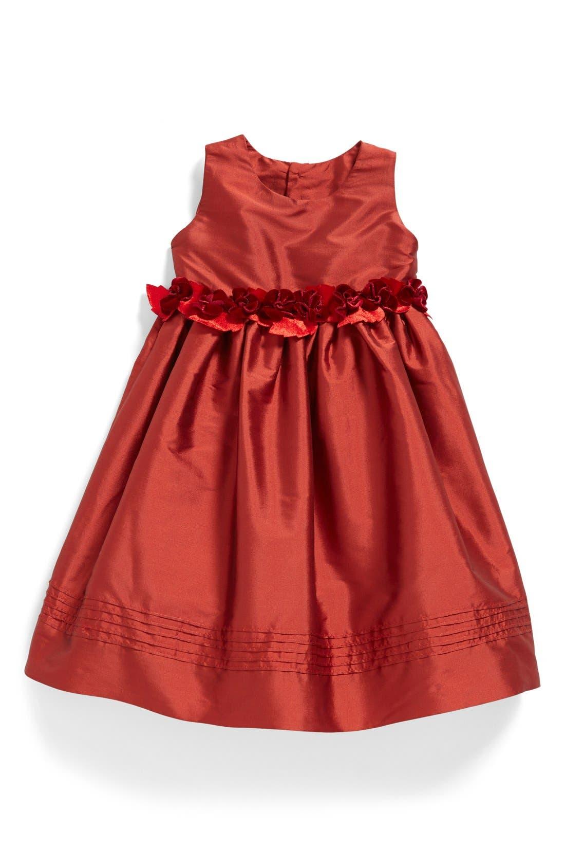Silk Sleeveless A-Line Dress,                         Main,                         color, Red