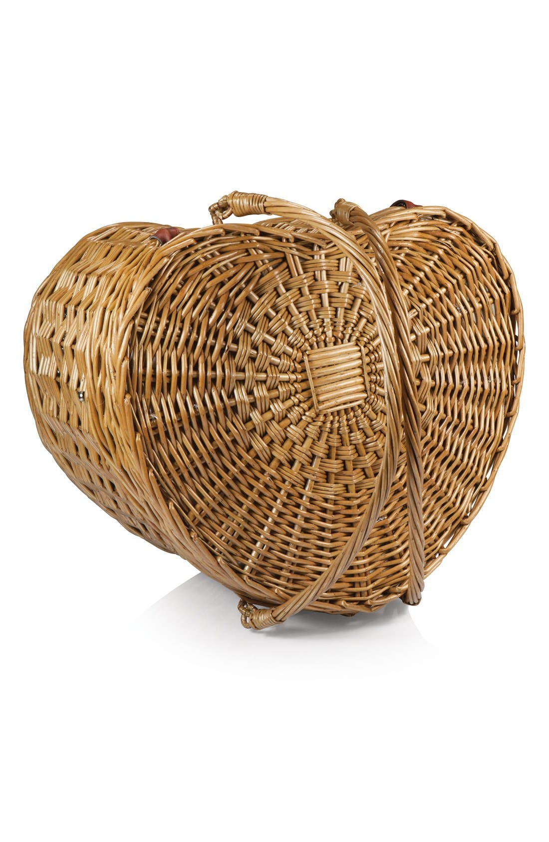 Heart Shaped Wicker Picnic Basket,                             Alternate thumbnail 4, color,                             Brown